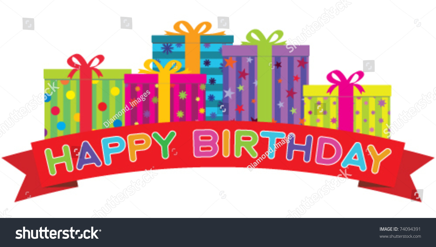 Vector happy birthday red banner front