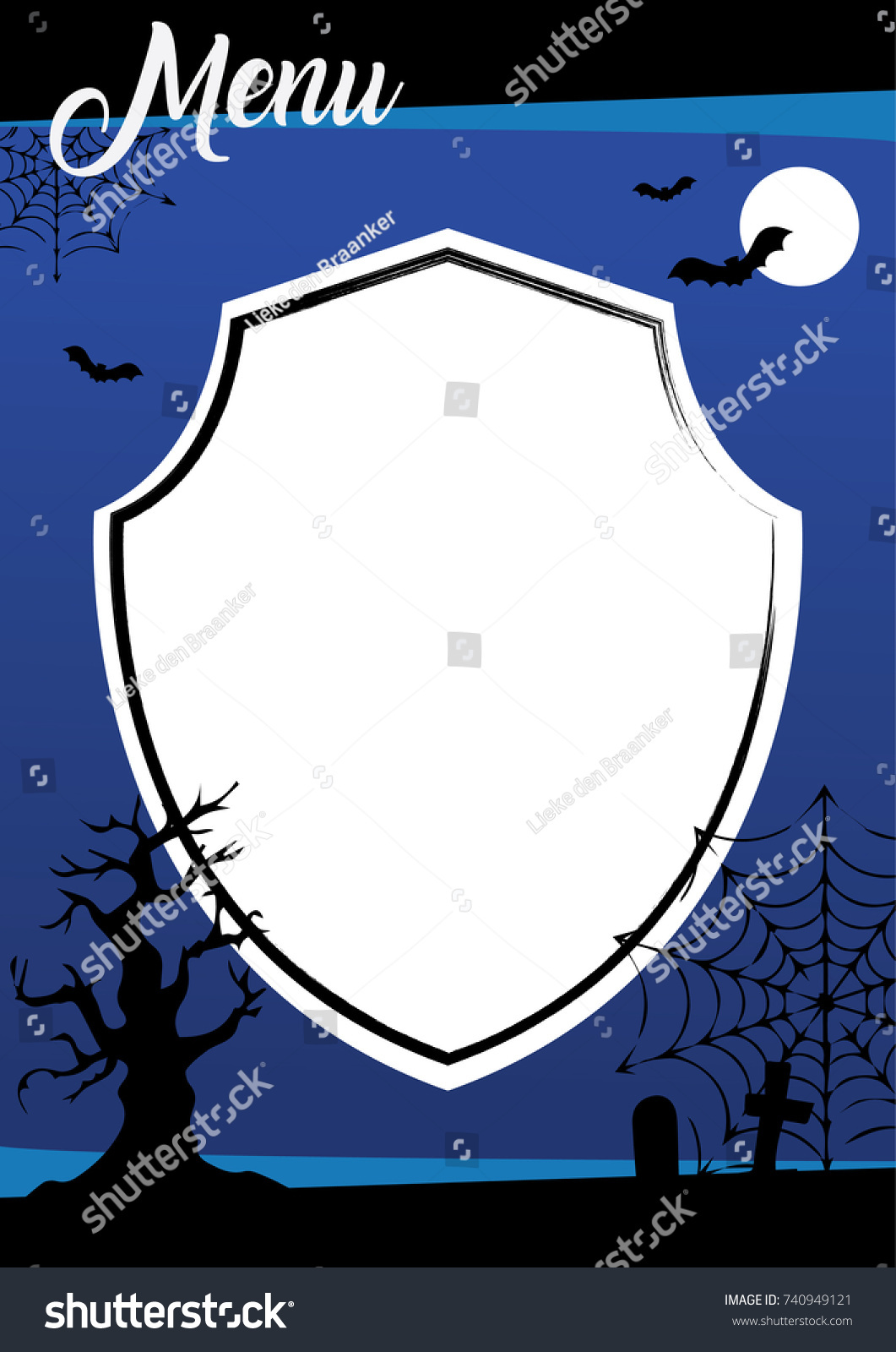 halloween menu template blue background decorations stock vector