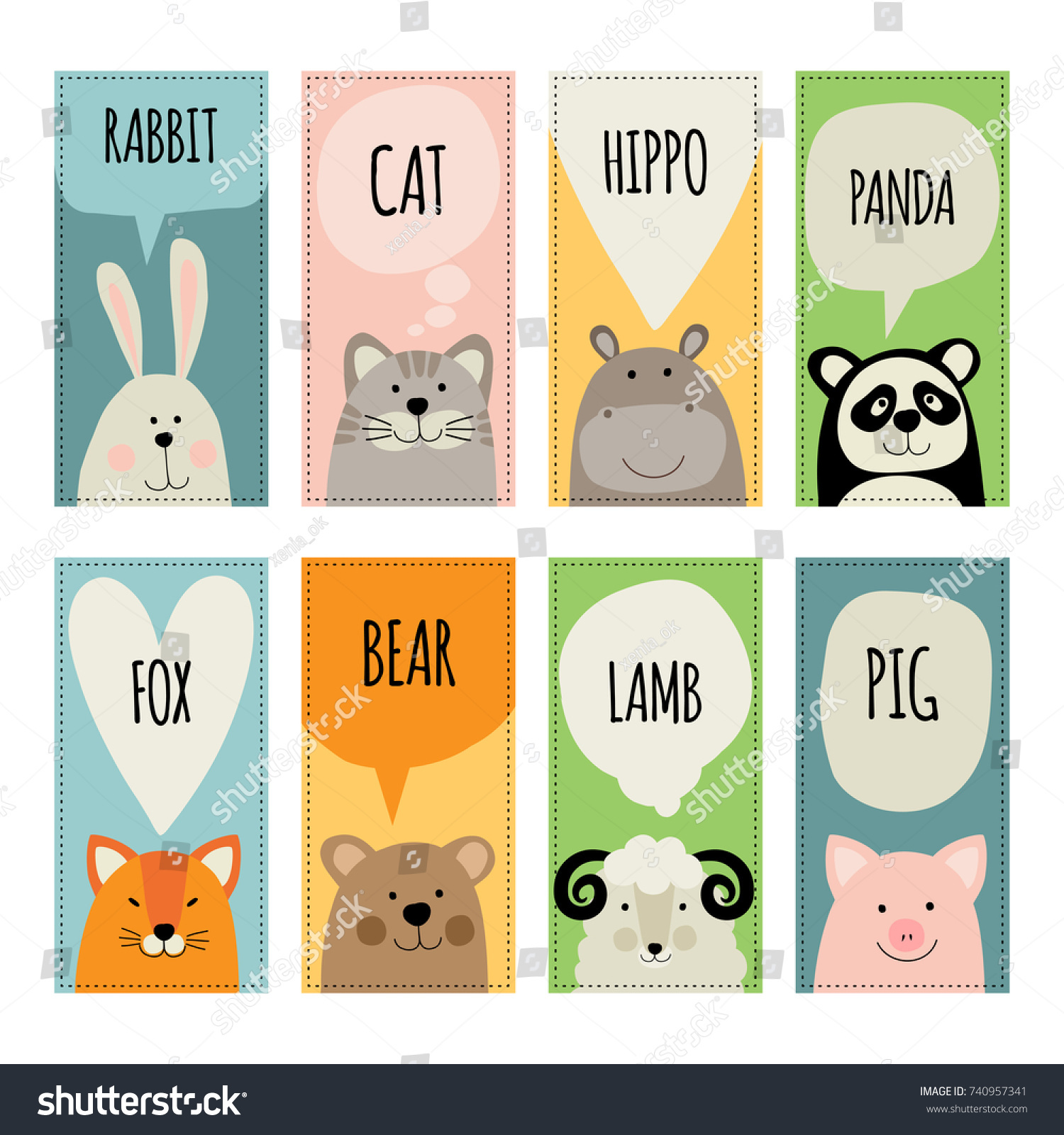 Set Templates Invitations Greeting Cards Animals Stock Vector