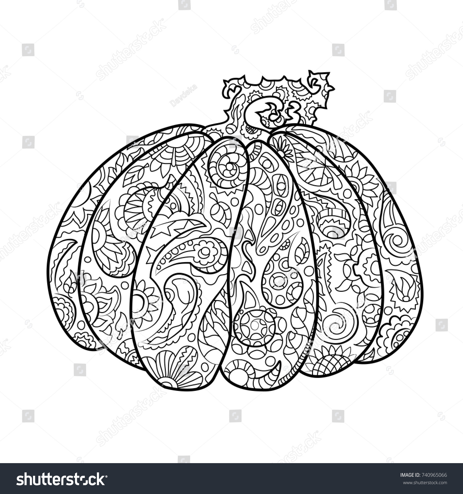 Pumpkin Ornament Coloring Page Halloween Coloring Stock Vector ...