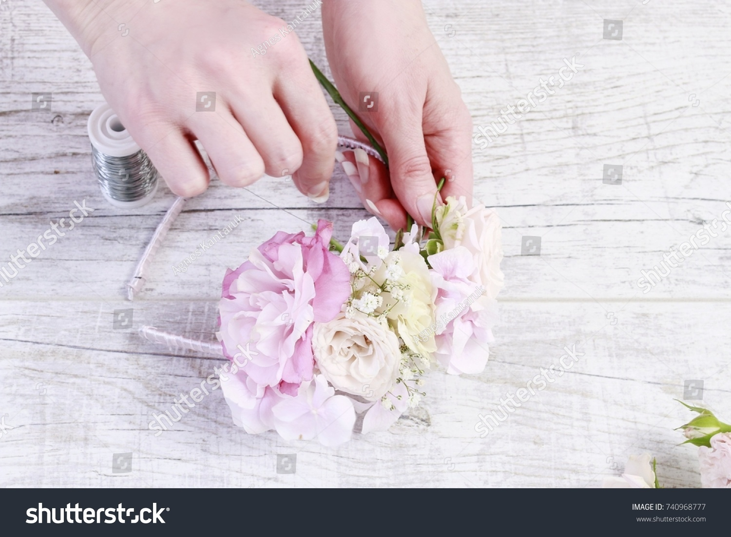 Florist Work How Make Flower Crown Stock Photo Edit Now 740968777