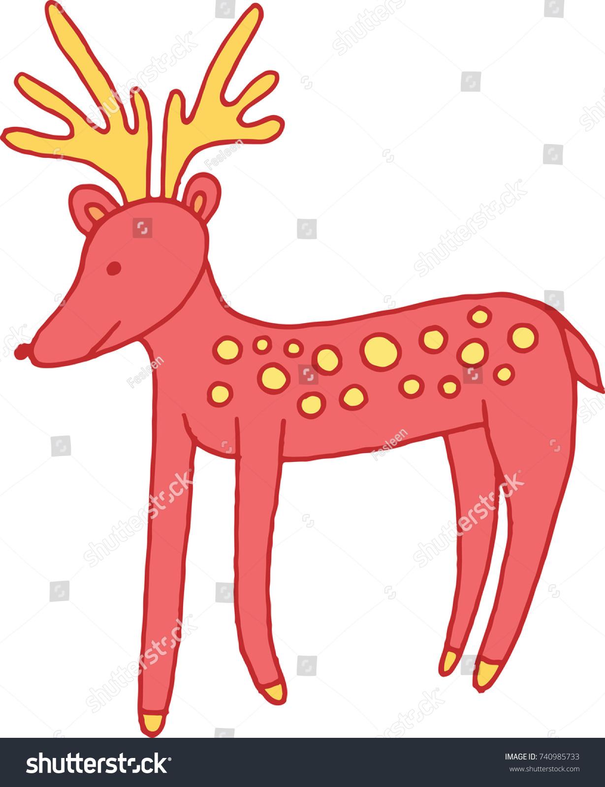 Forest Animal Deer Doodle Cartoon Simple Stock Vector 740985733 ...
