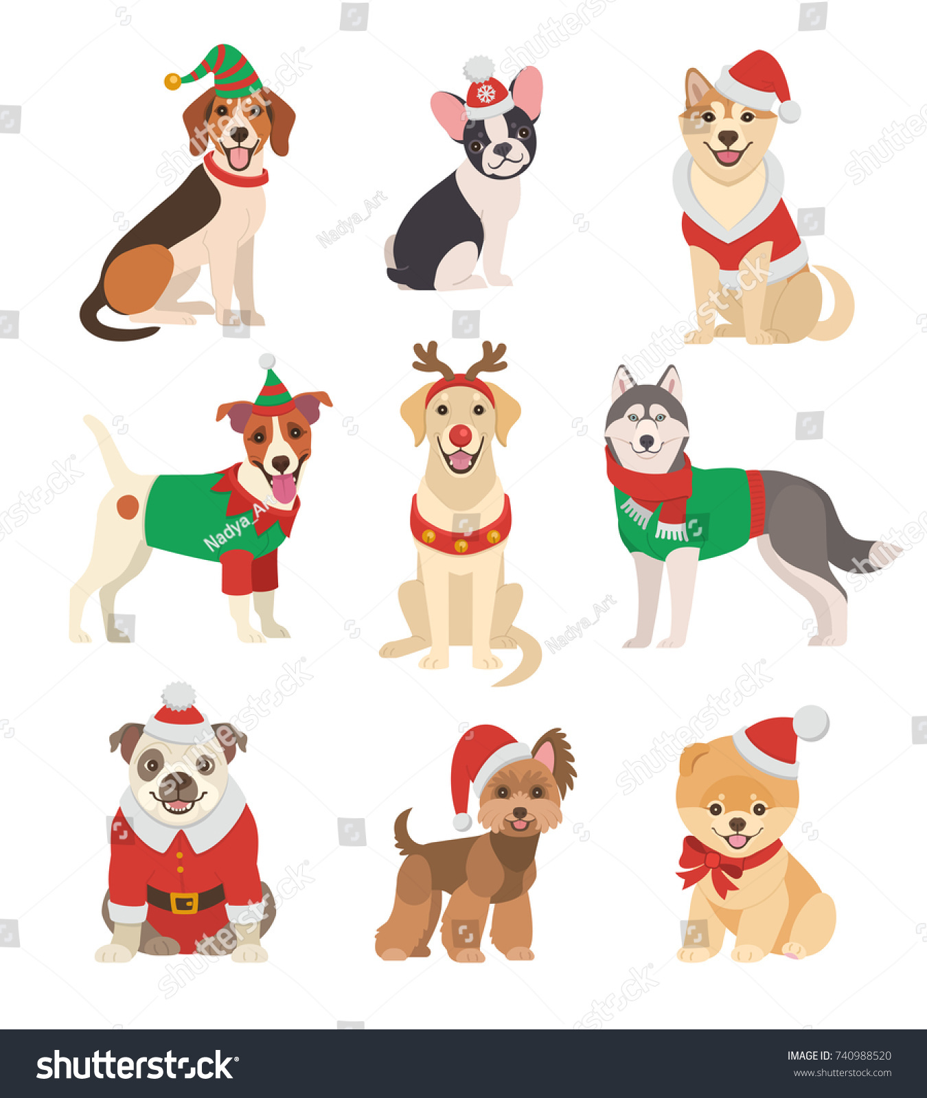 Christmas Dogs Collection Vector Illustration Funny Stock ...
