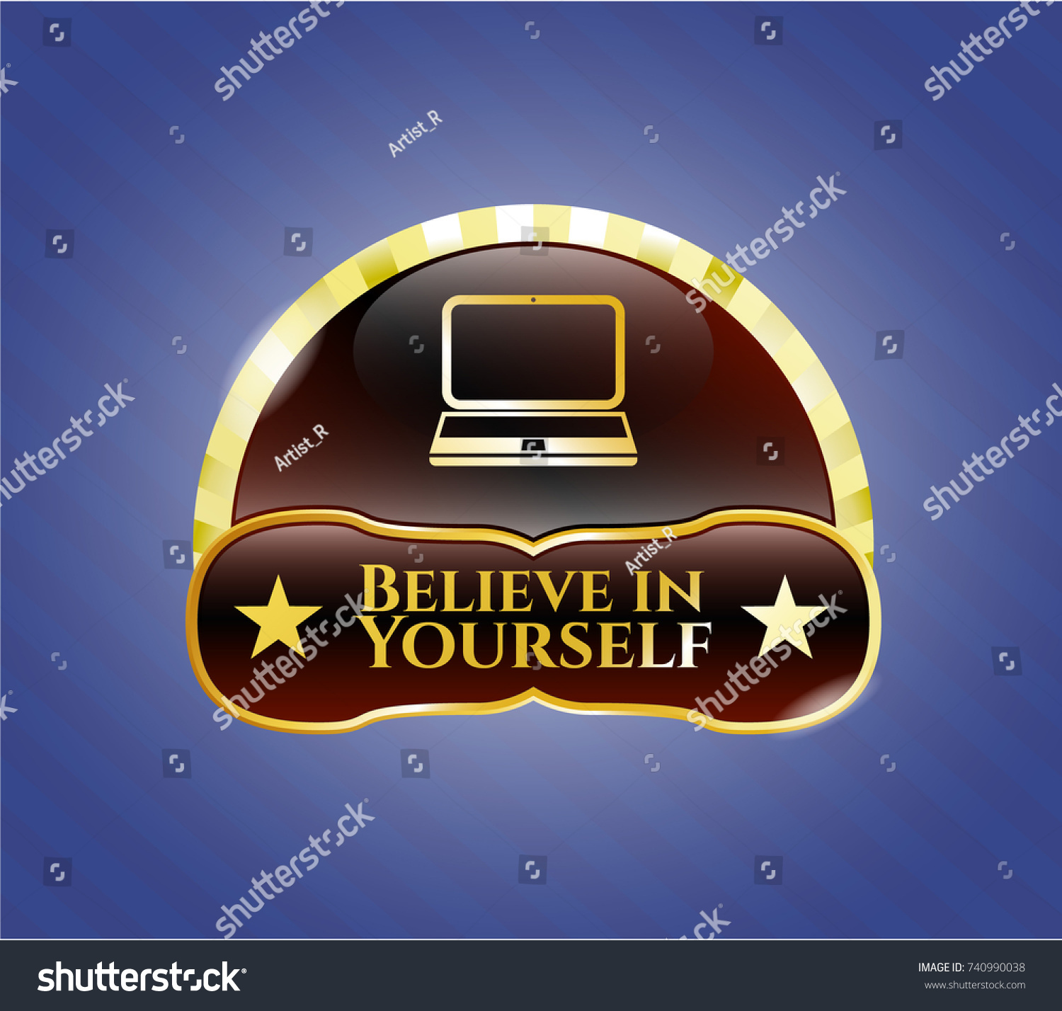 Golden badge laptop icon believe yourself stock vector 740990038 golden badge with laptop icon and believe in yourself text inside biocorpaavc Choice Image