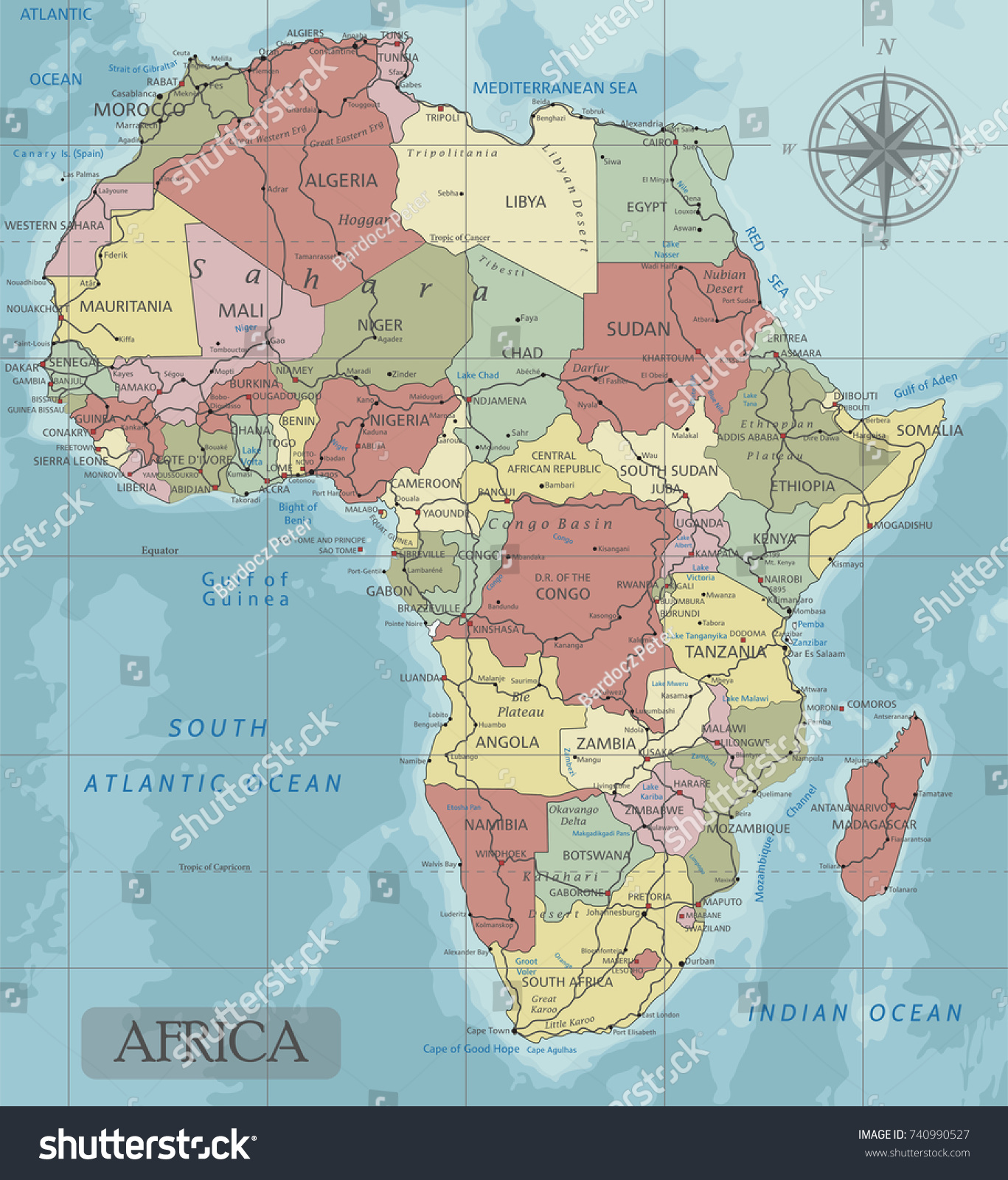 Detailed Africa Political Map Mercator Projection Stock Vector