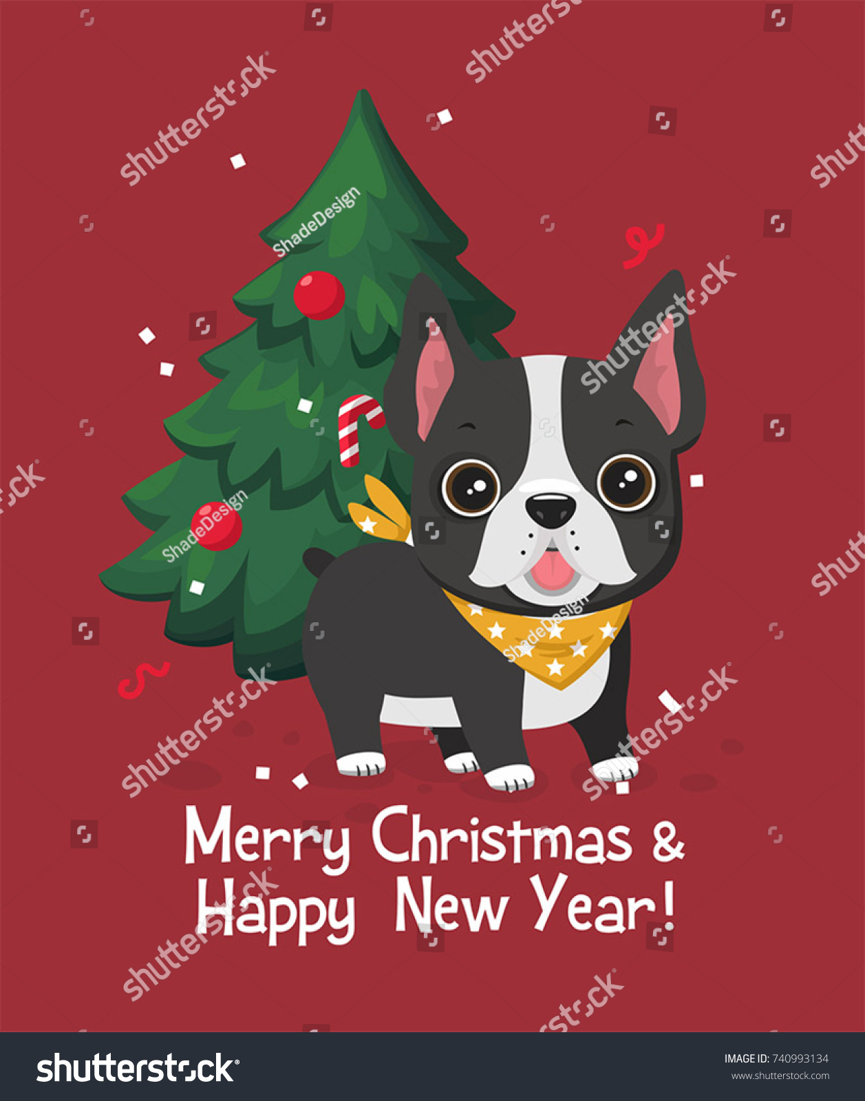 Christmas Card Dog Breed French Bulldog Stock Vector (Royalty Free ...