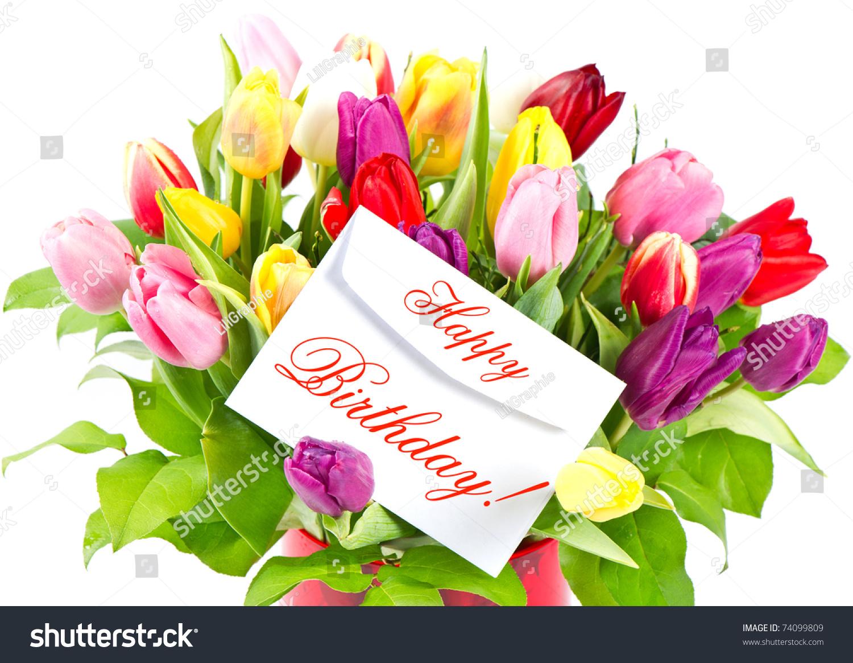 Happy Birthday Colorful Bouquet Fresh Tulips Stock Photo Edit Now