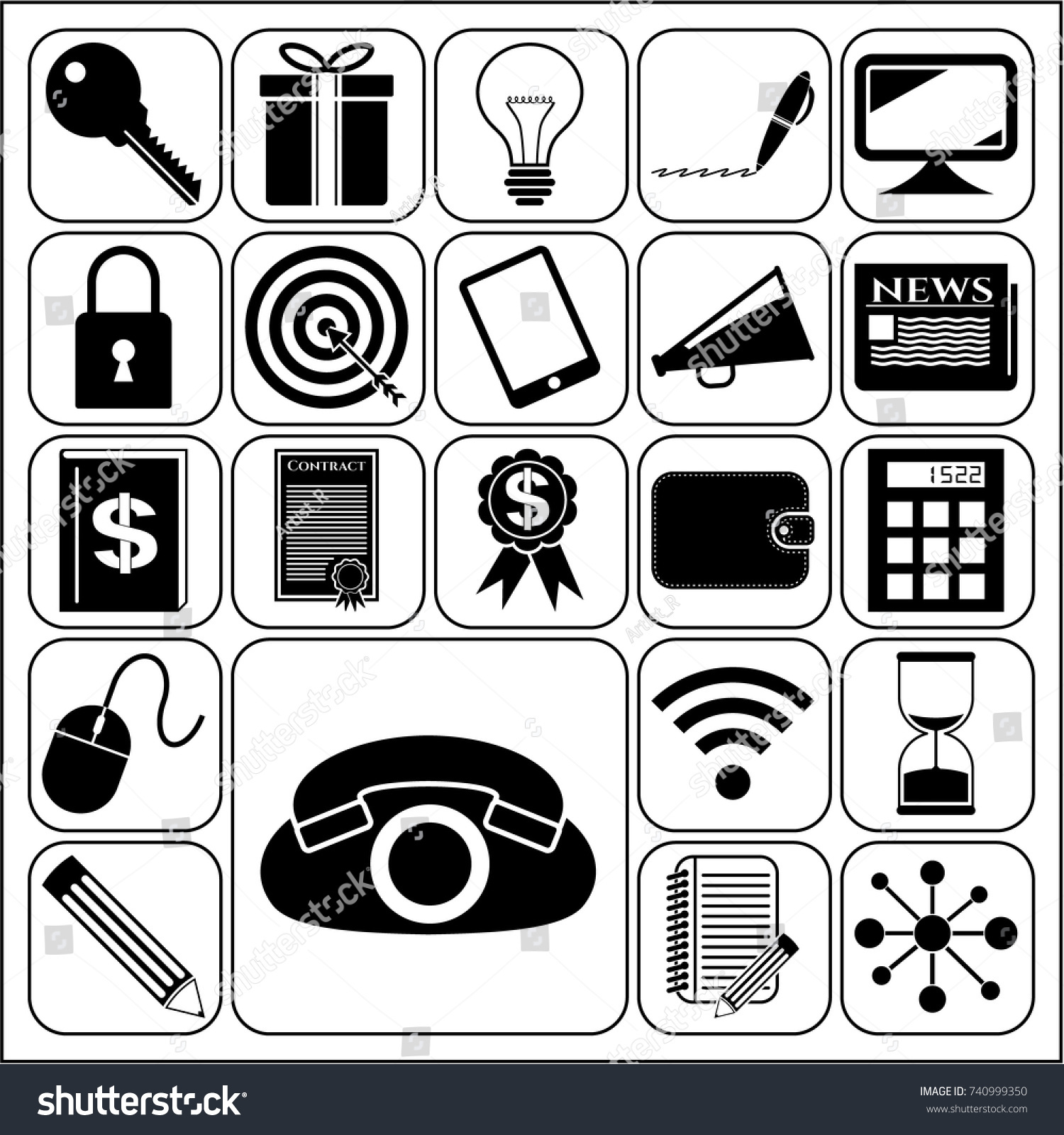 Set 22 Business Icons Symbols Collection Stock Vector 740999350