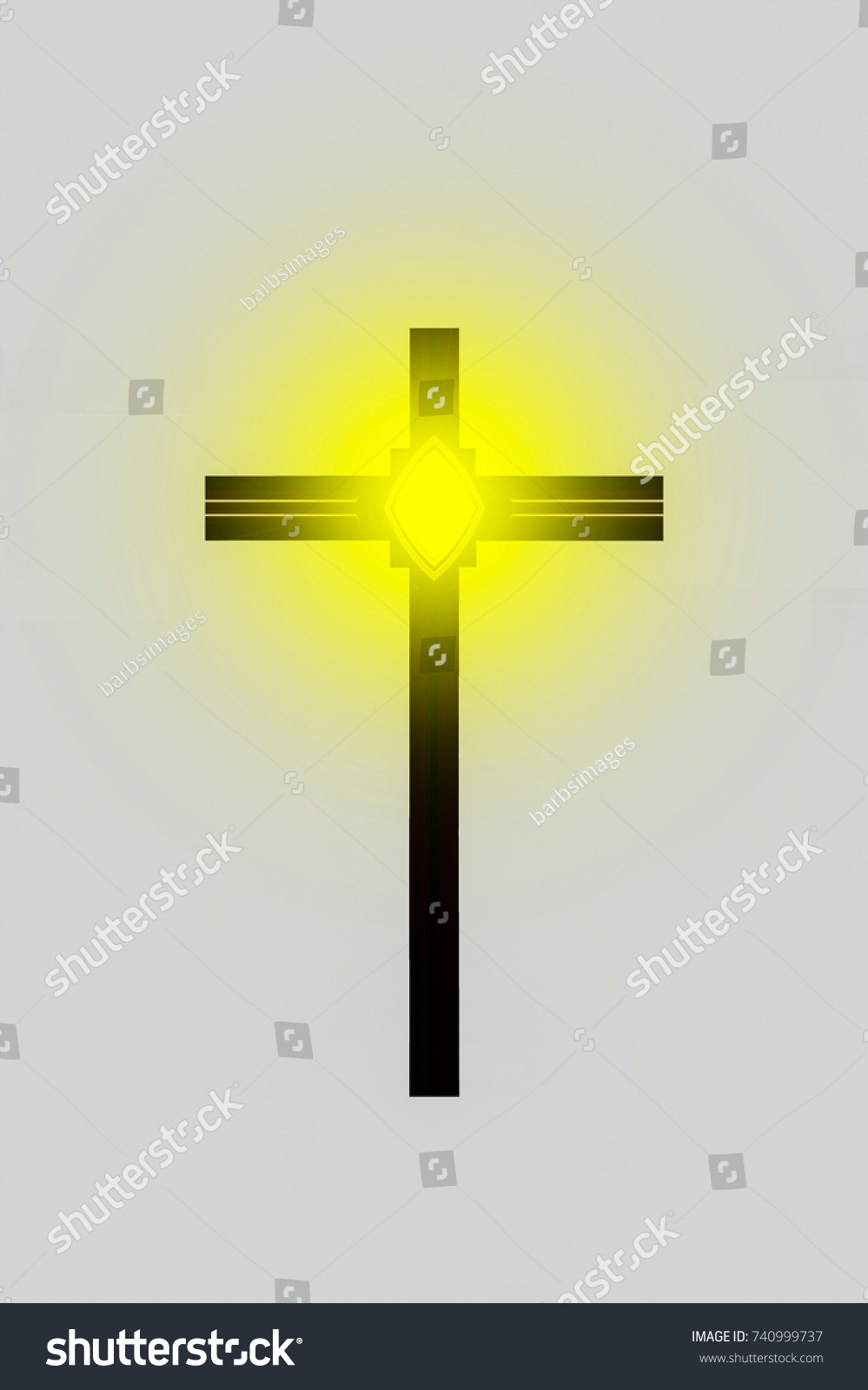 Abstract Design Christian Cross Yellow Star Stock Illustration