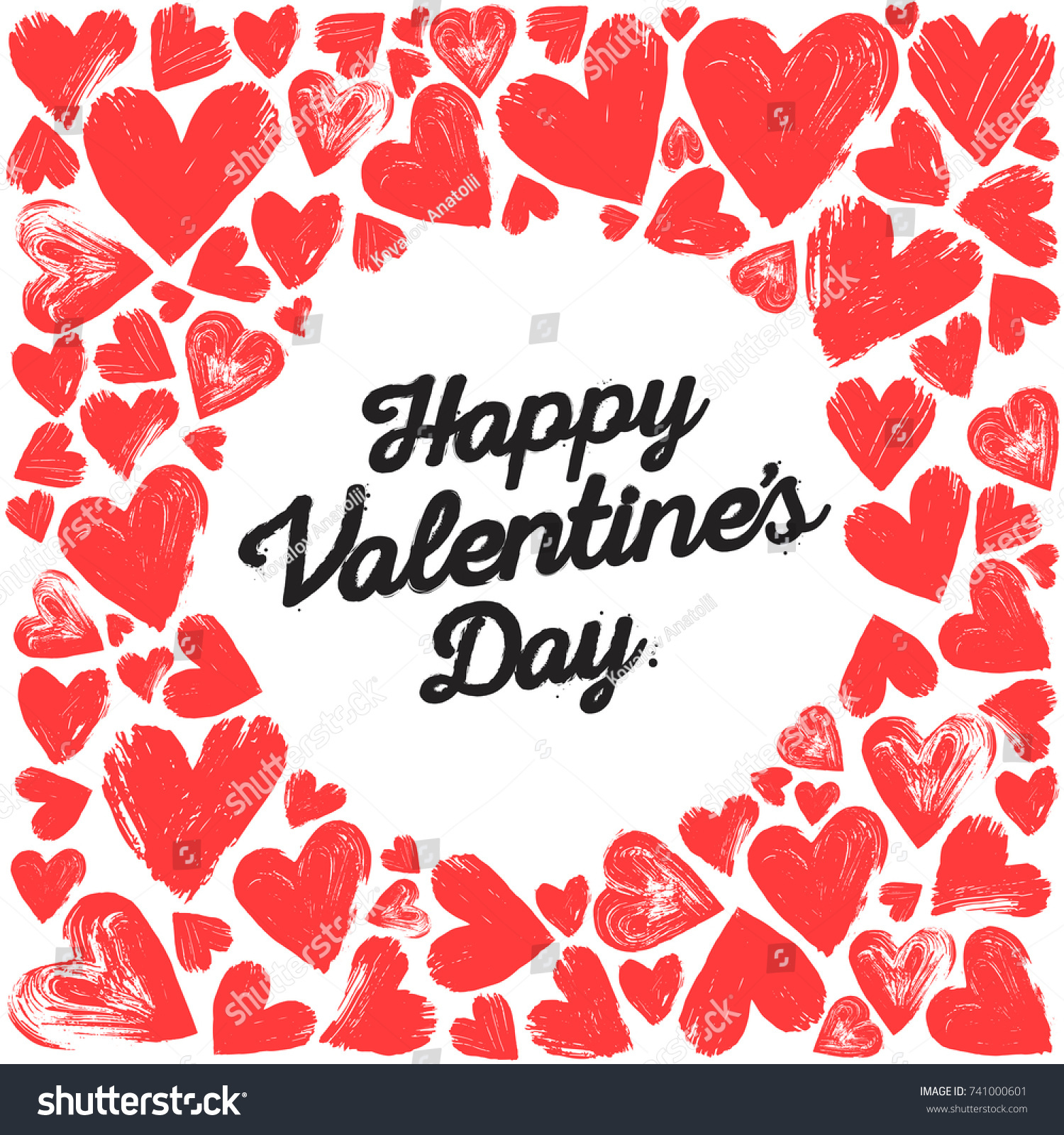 Happy Valentines Day Poster Handwritten Text Stock Vector Royalty