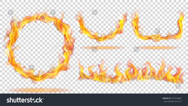 Set Fire Flames Form Ring Arc Stock Vector 741018682 - Shutterstock