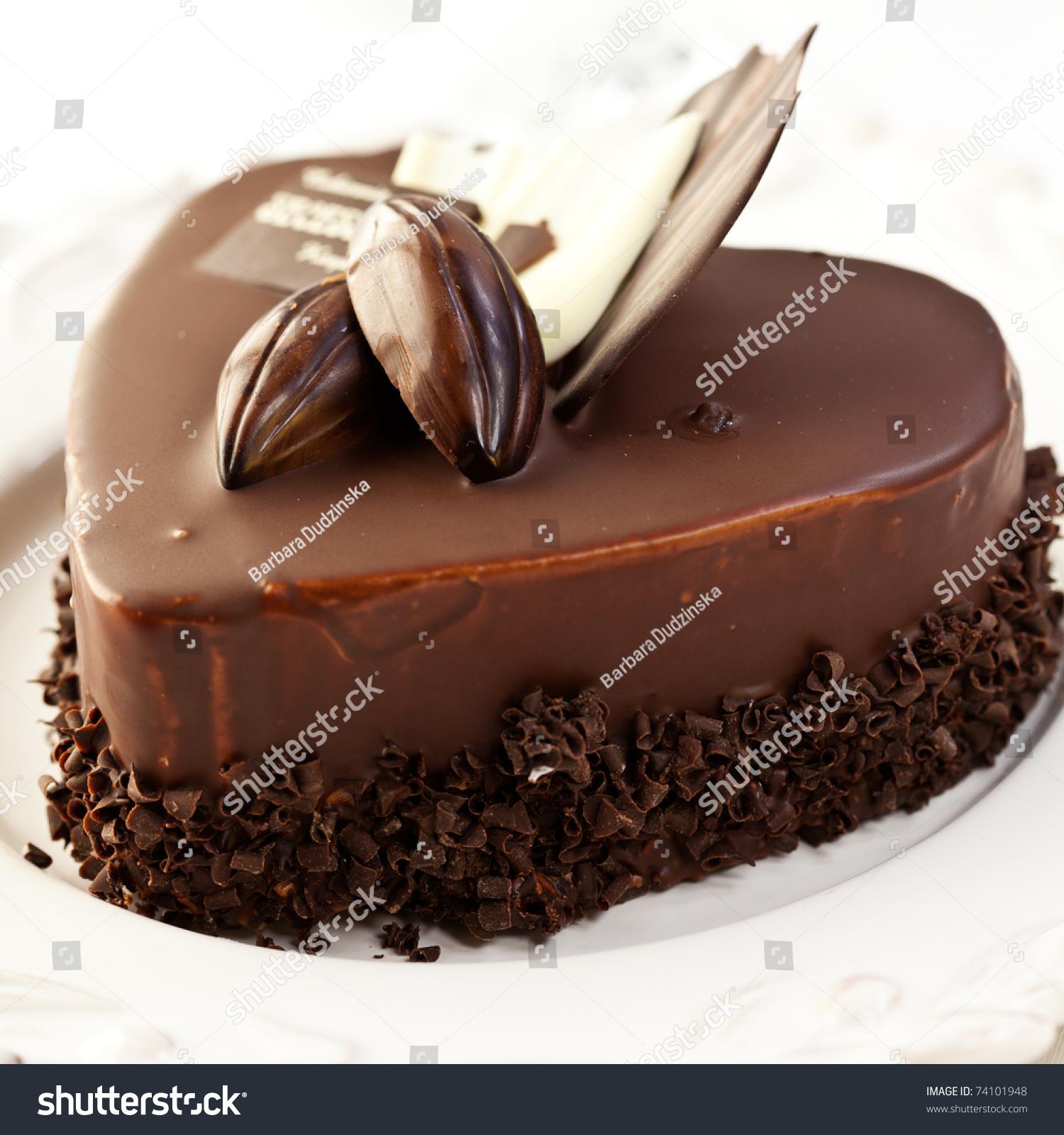 Elegant Valentines Day Birthday Chocolate Cake Stock Photo