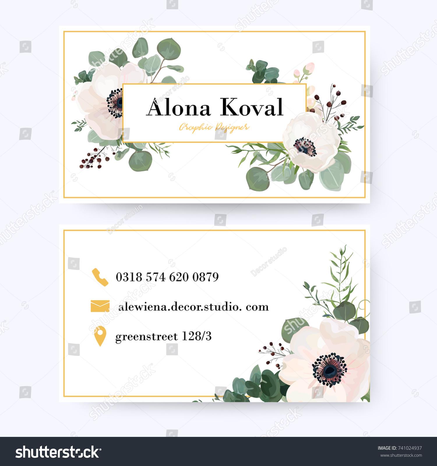 Floral Business Card Design Vintage Anemone Stock Vector