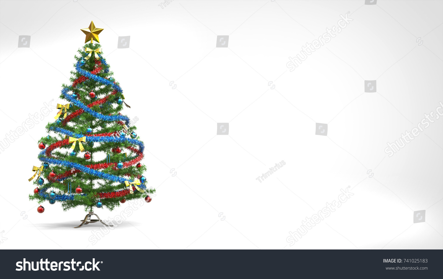 bright christmas tree card template 3 d stock illustration 741025183