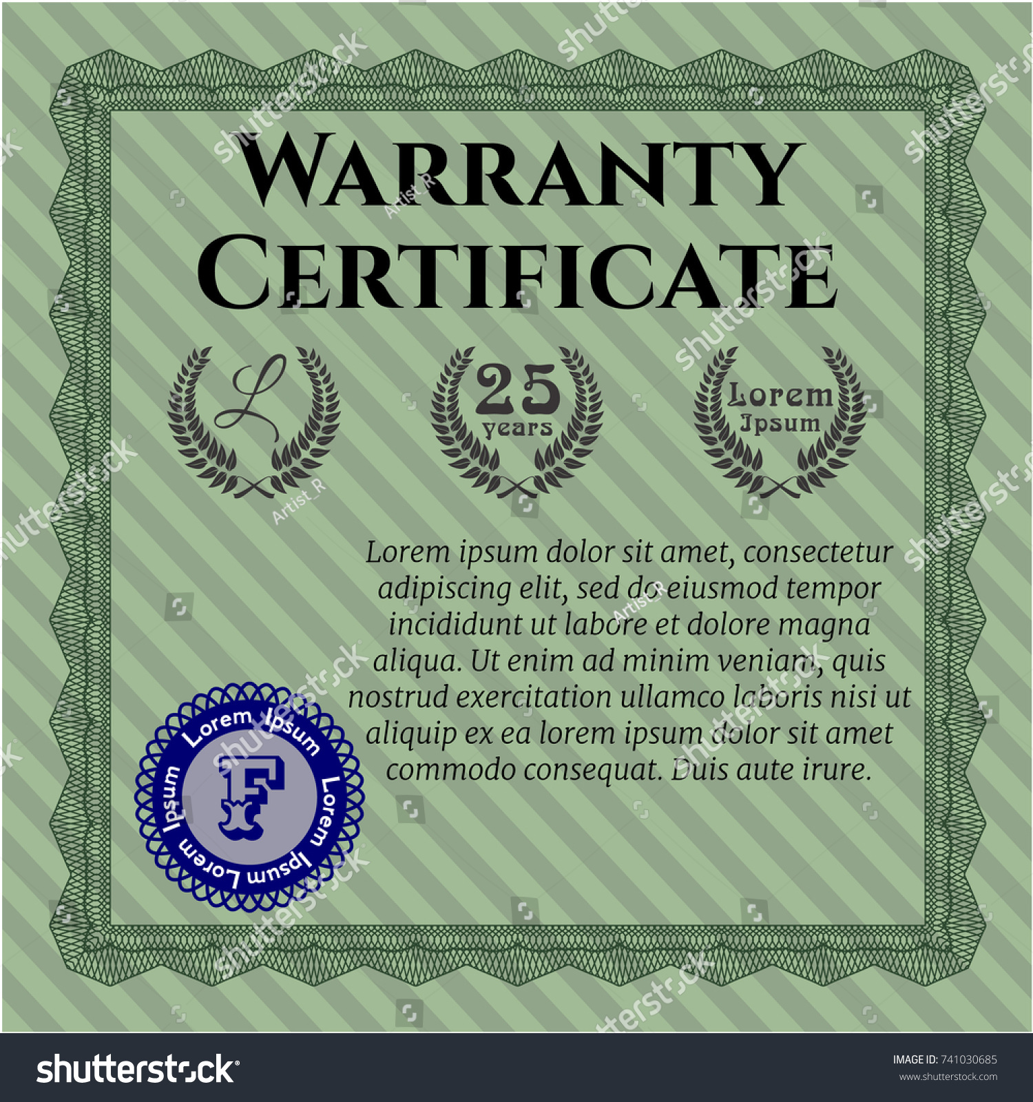 Green Retro Warranty Certificate Template Customizable Easy To