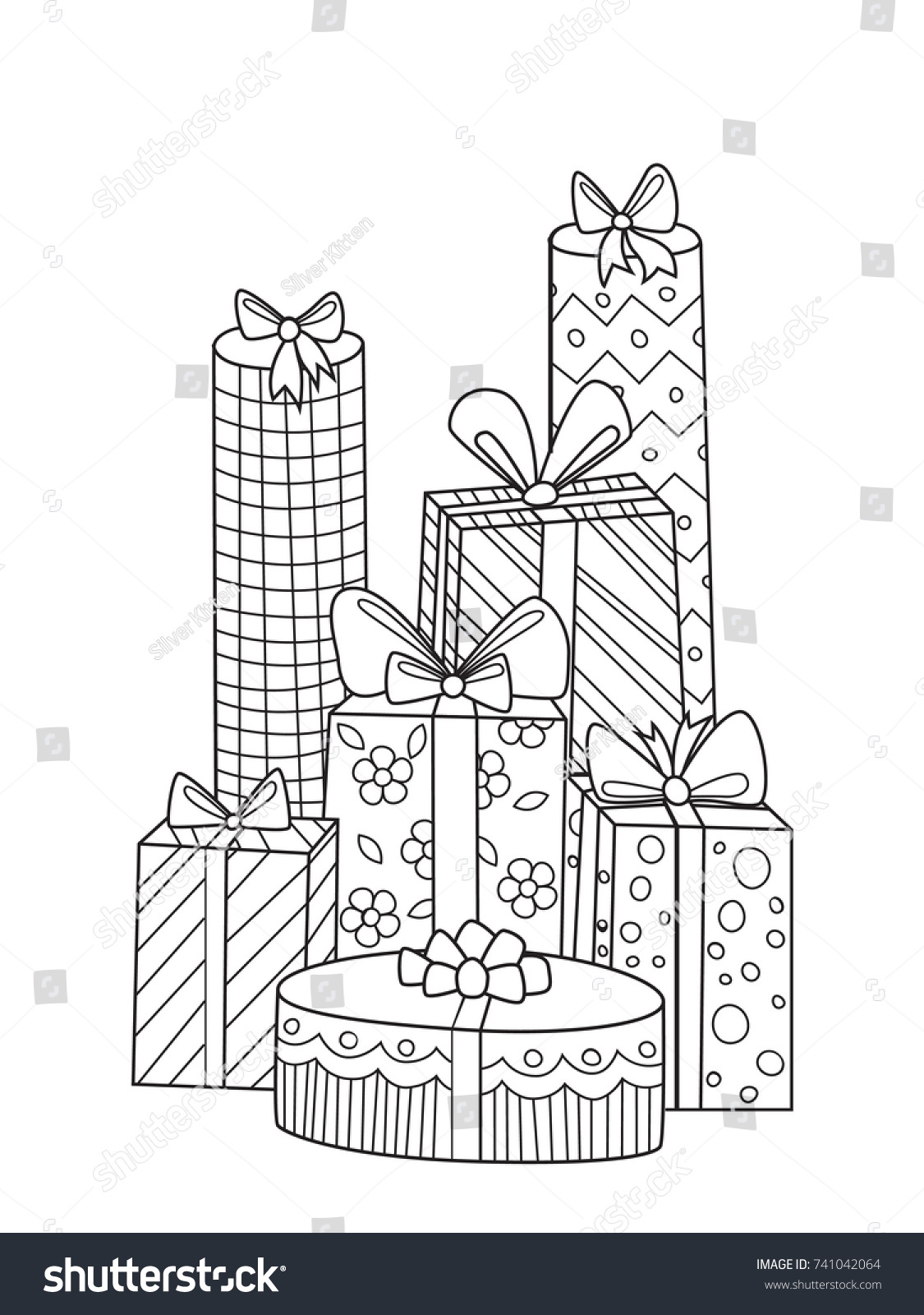 Outlined Doodle Antistress Coloring Gifts Coloring Stock Vector ...
