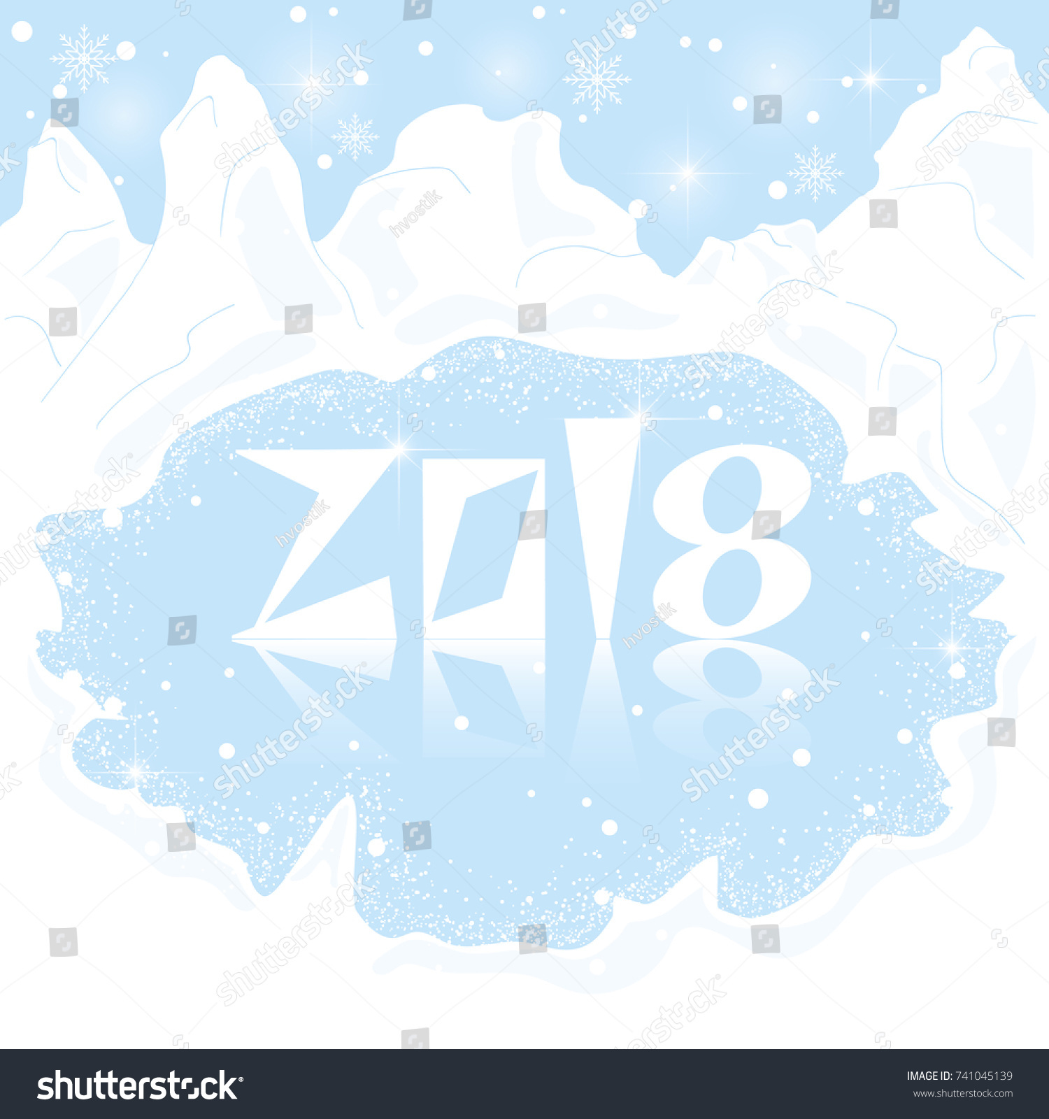 happy new year 2018 abstract background with snowy mountains and a frozen lake postcard