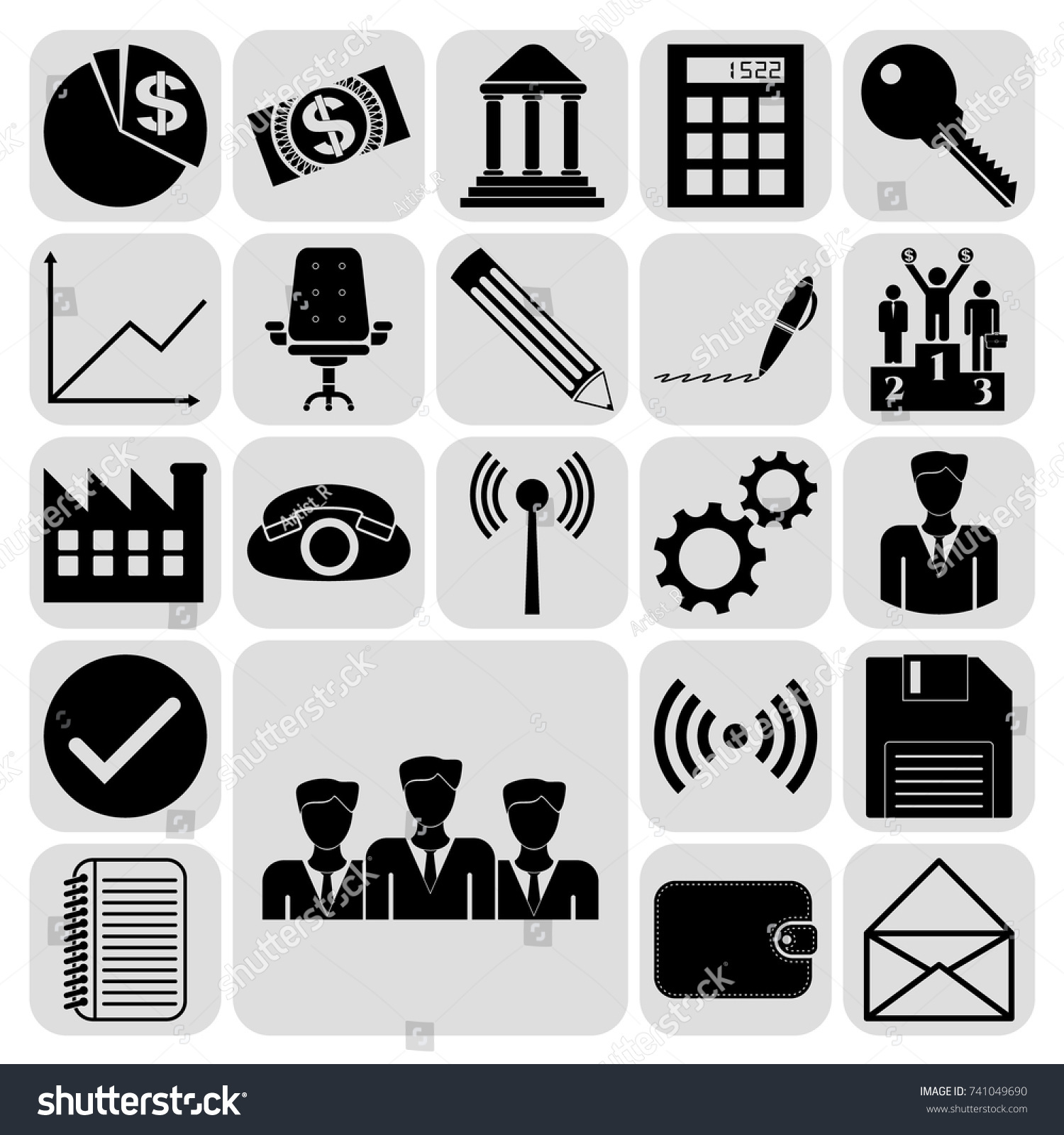 Set 22 Business Icons Symbols Collection Stock Photo Photo Vector