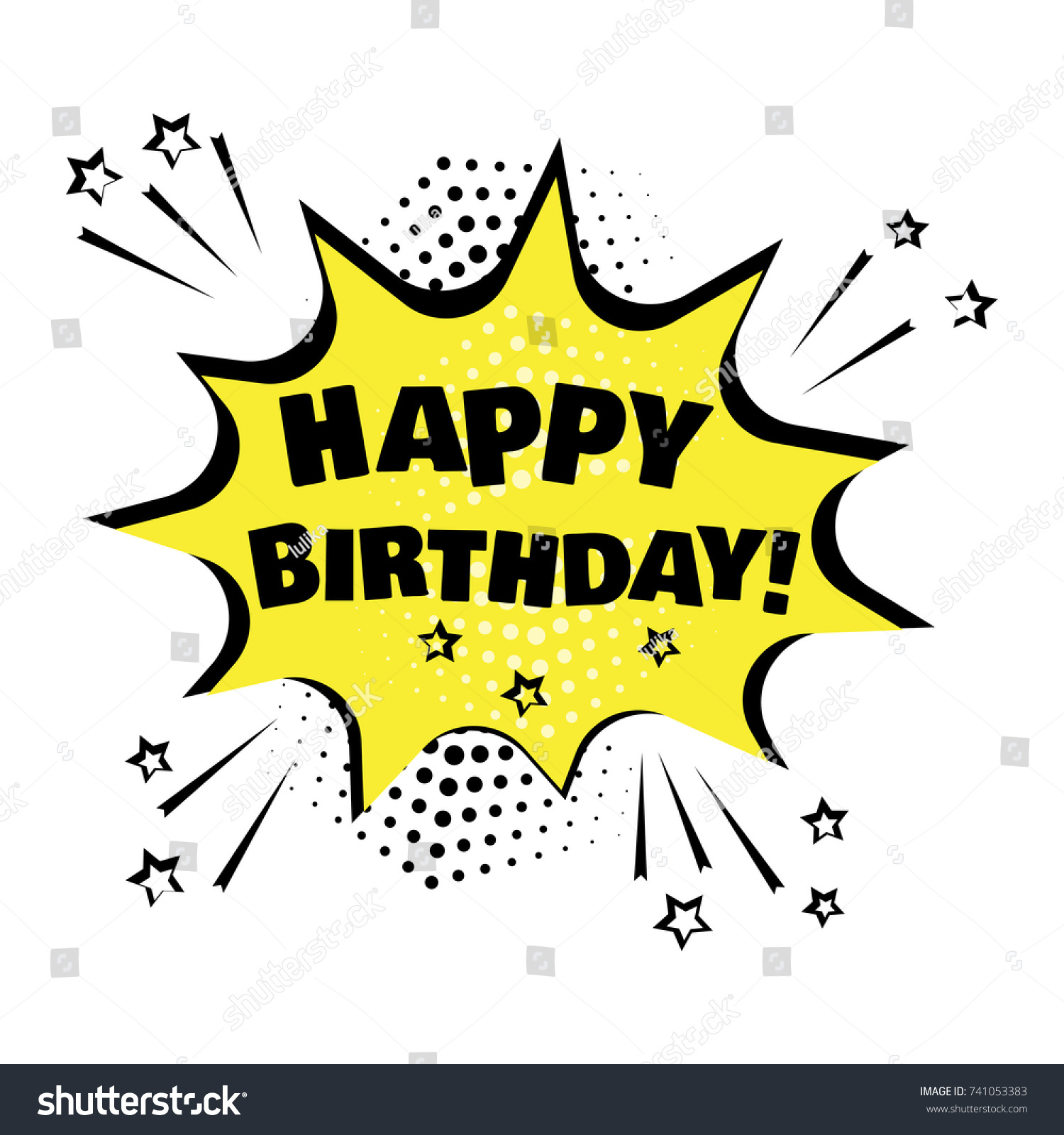 Yellow Comic Bubble Happy Birthday Word Stock Vector