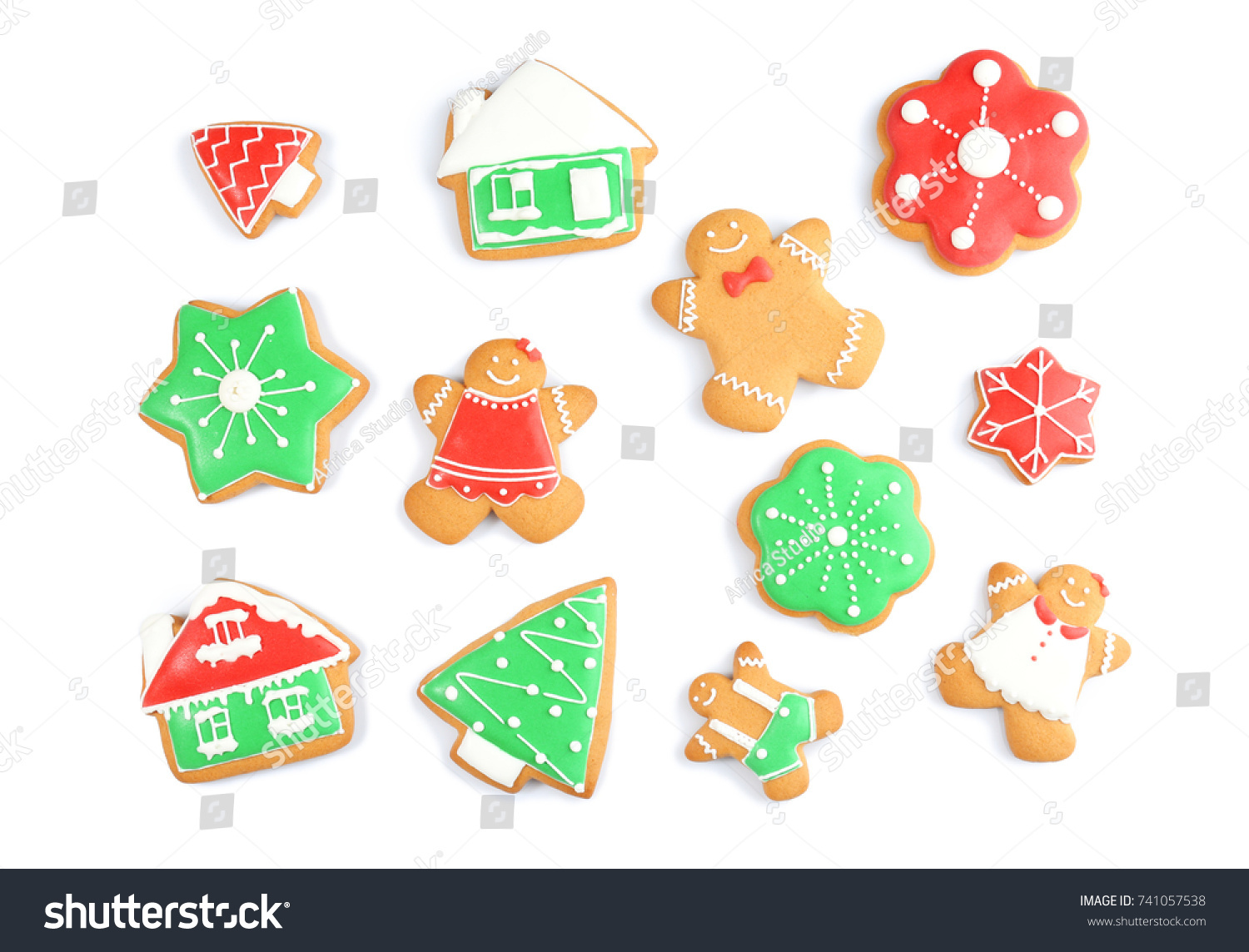 Delicious Christmas Cookies On White Background Stock Photo (Edit ...