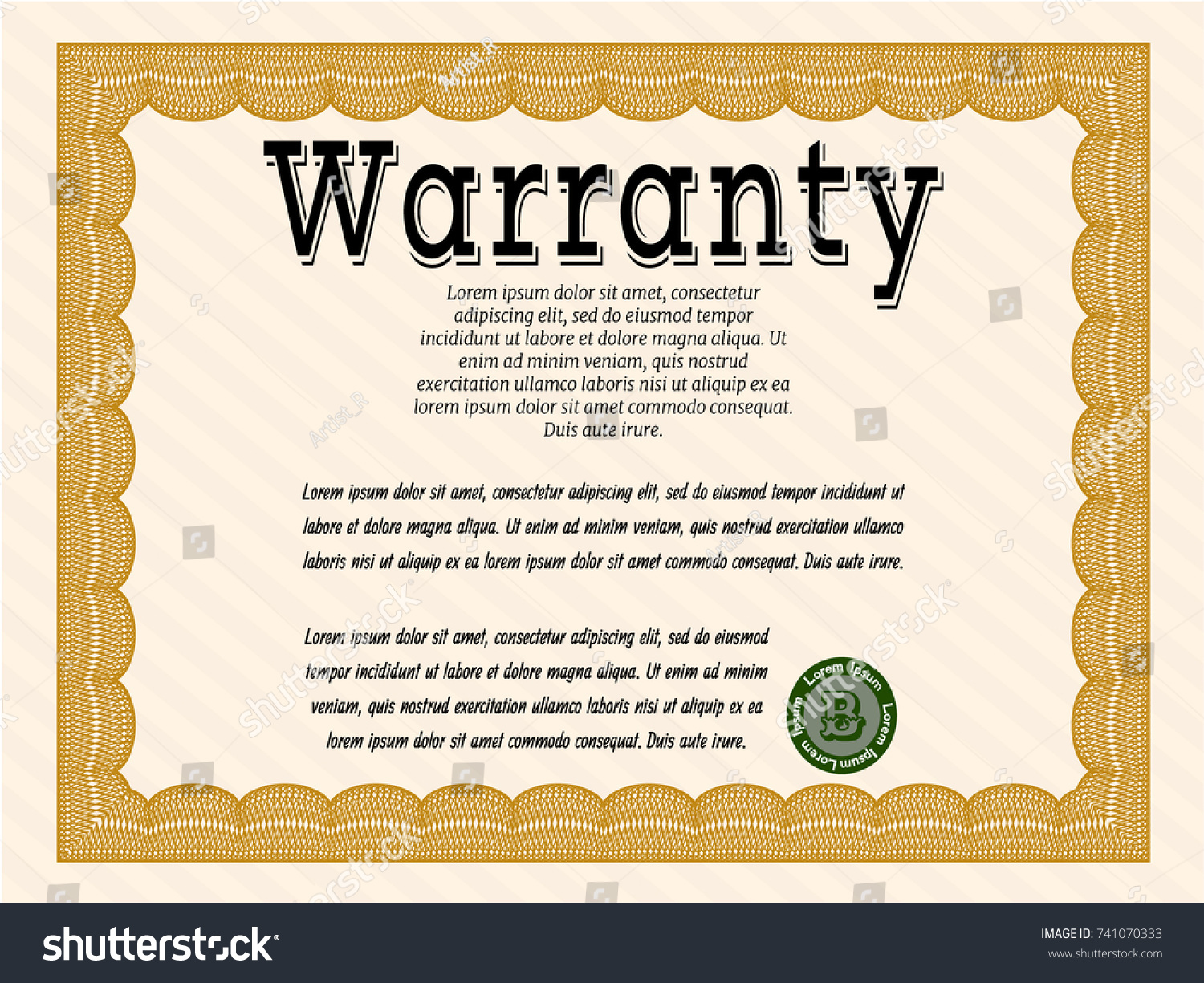 Warranty certificate template free download brochure word templates warranty certificate template word gallery templates example stock vector orange vintage warranty certificate template with complex yelopaper Choice Image