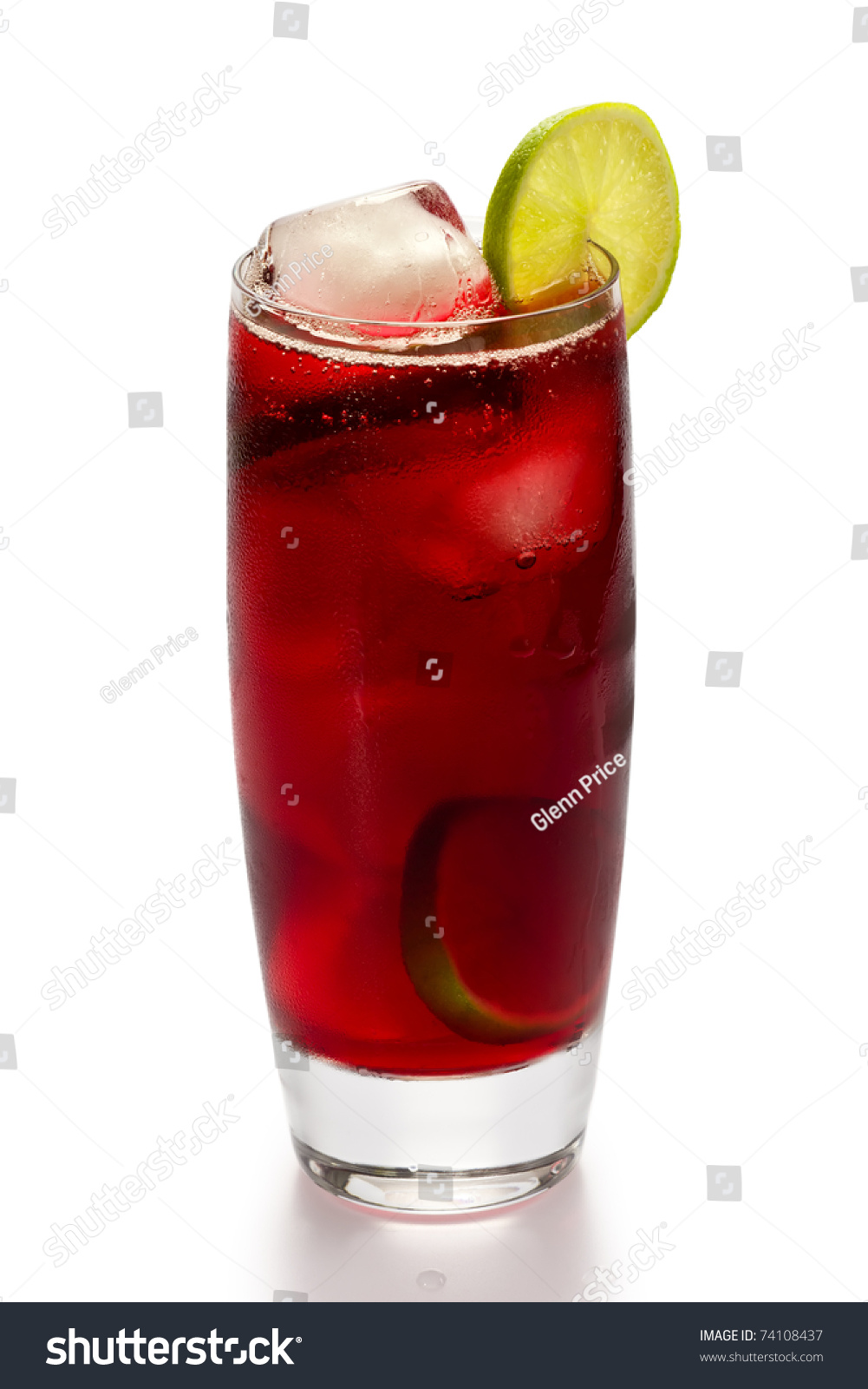 Glass Of Iced Hibiscus Tea With Slices Of Lime On White Background ...