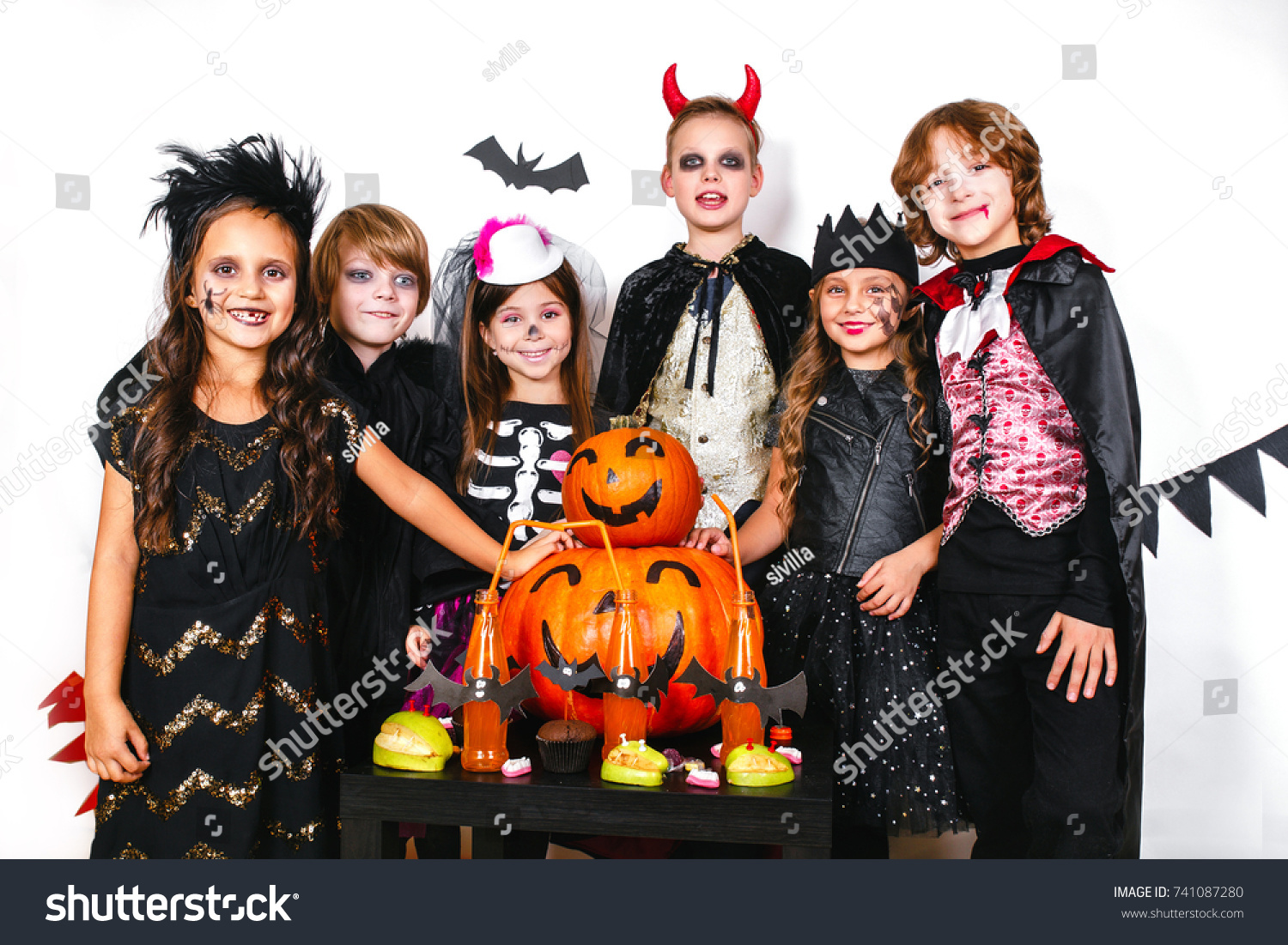 halloween party funny kids carnival costumes stock photo (edit now