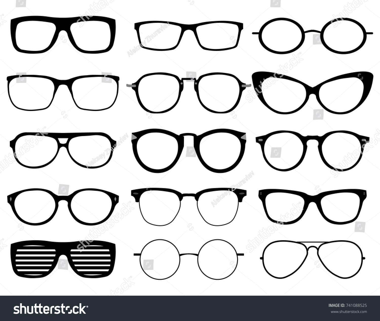 Glasses model icons, man, women frames. Sunglasses, eyeglasses black ...