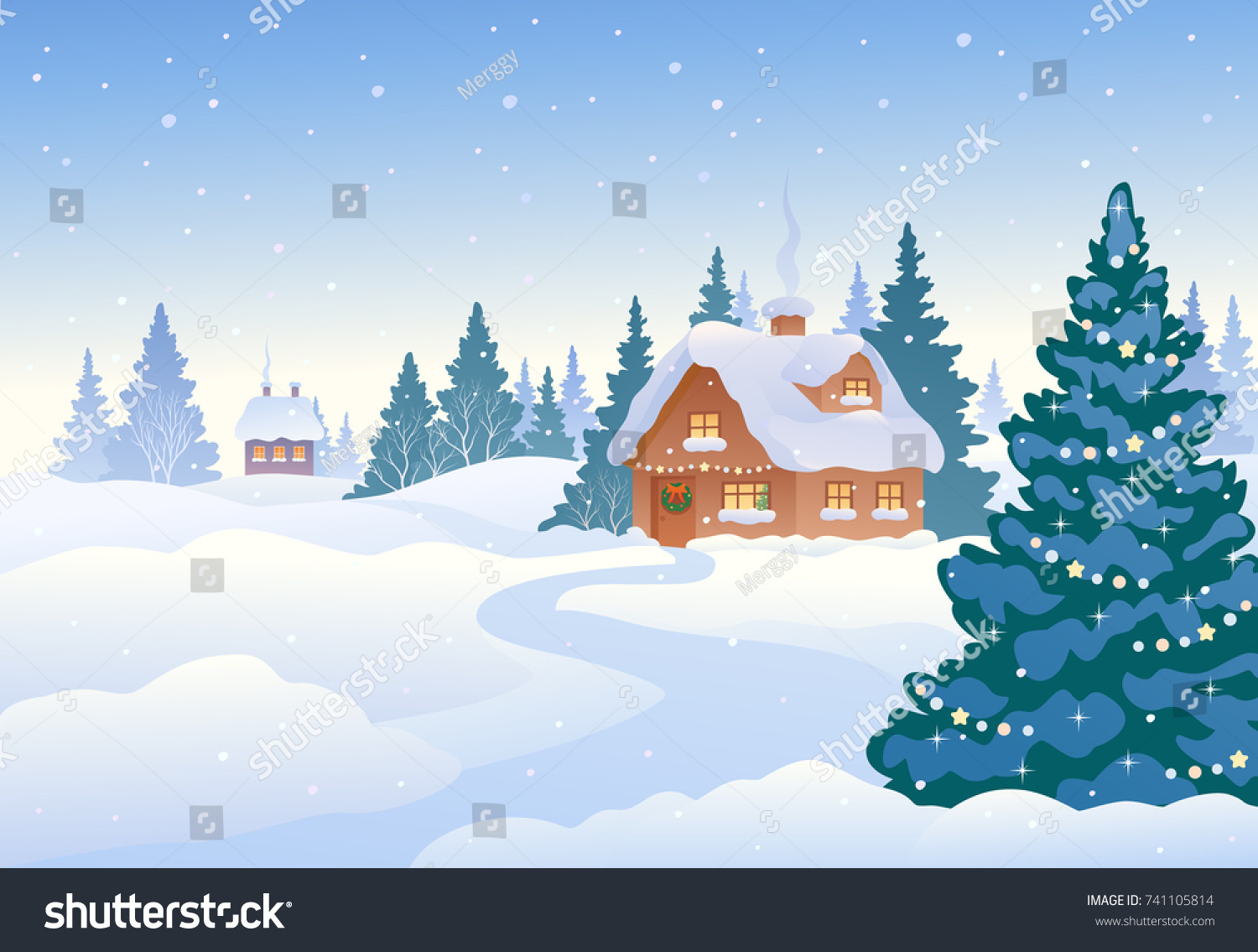 Vector Cartoon Drawing Beautiful Christmas Landscape Stock Vector ...