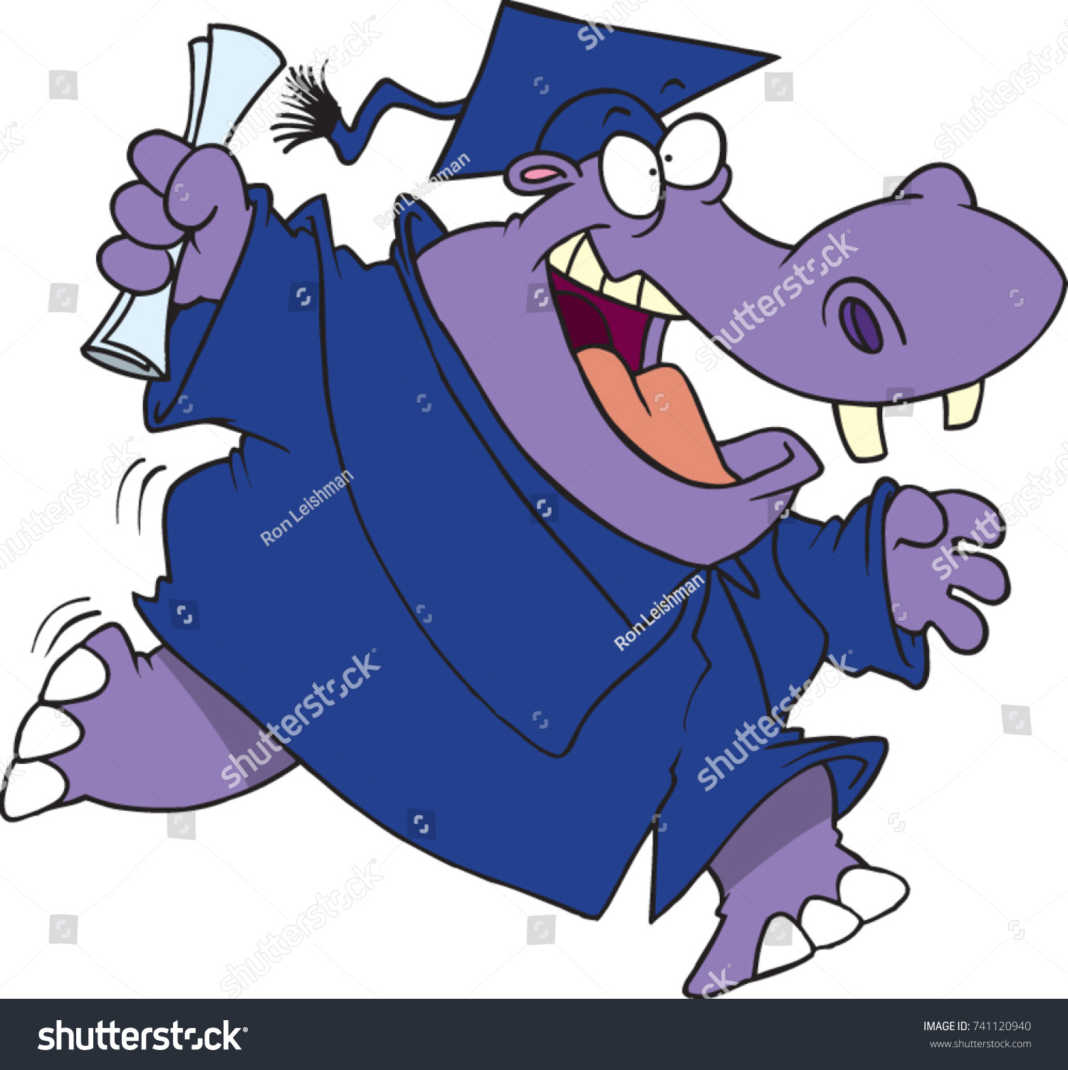 Cartoon Excited Hippo Graduation Gown Cap Stock Vector 741120940 ...