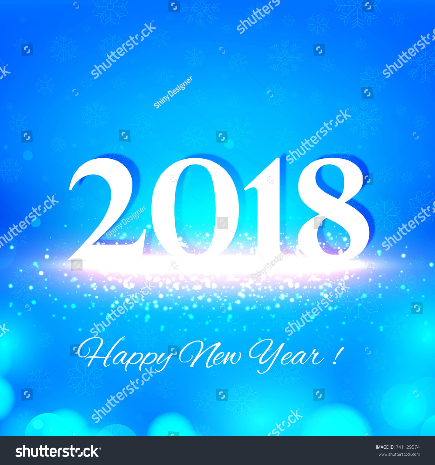happy new year 2018 blue vector design