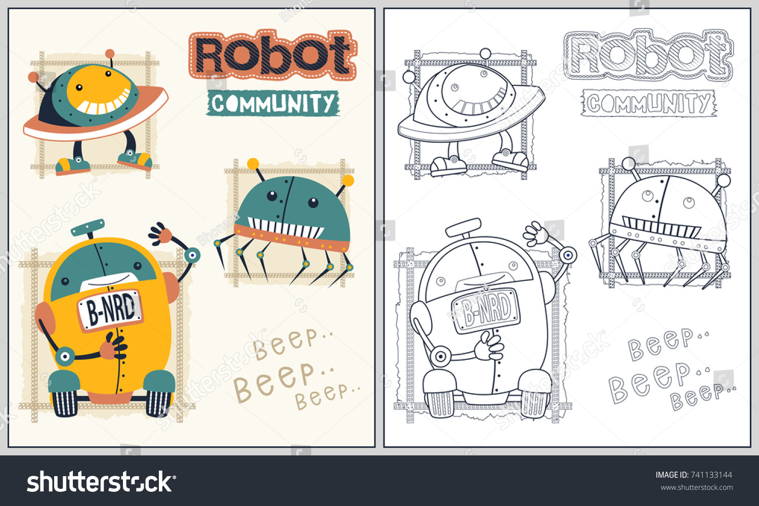 Funny Robots Vector Cartoon Illustration Coloring Book Or Page