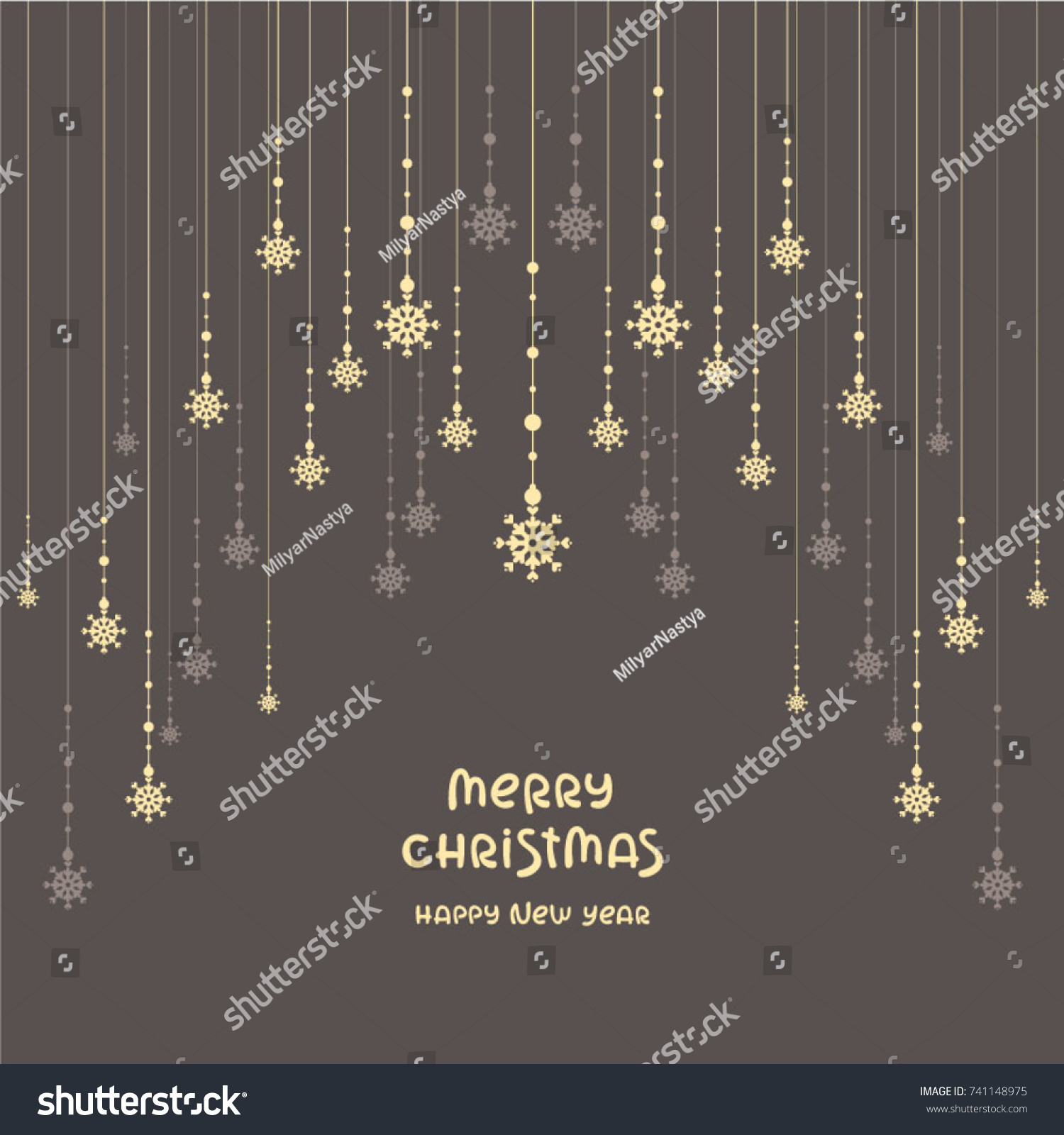 Elegant Christmas Background Snowflakes Garland Template Stock