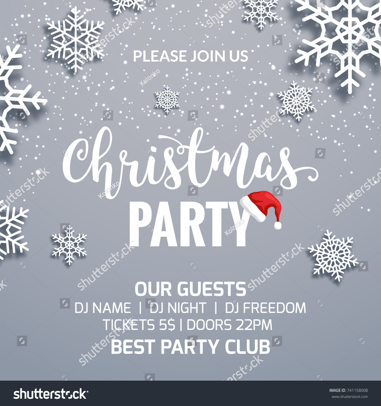 Christmas Party Poster Invitation Decoration Design Stock Vector ...