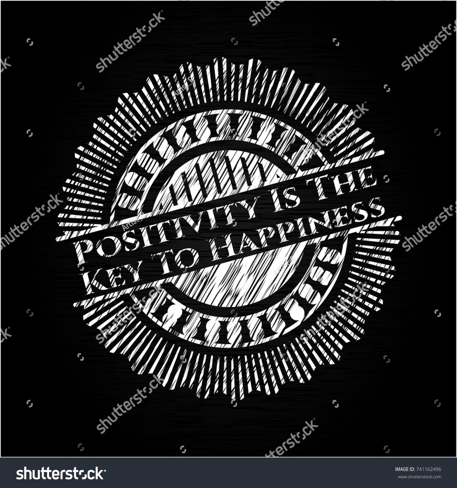 Positivity Key Happiness Written On Chalkboard Stock Vector Royalty Free 741162496
