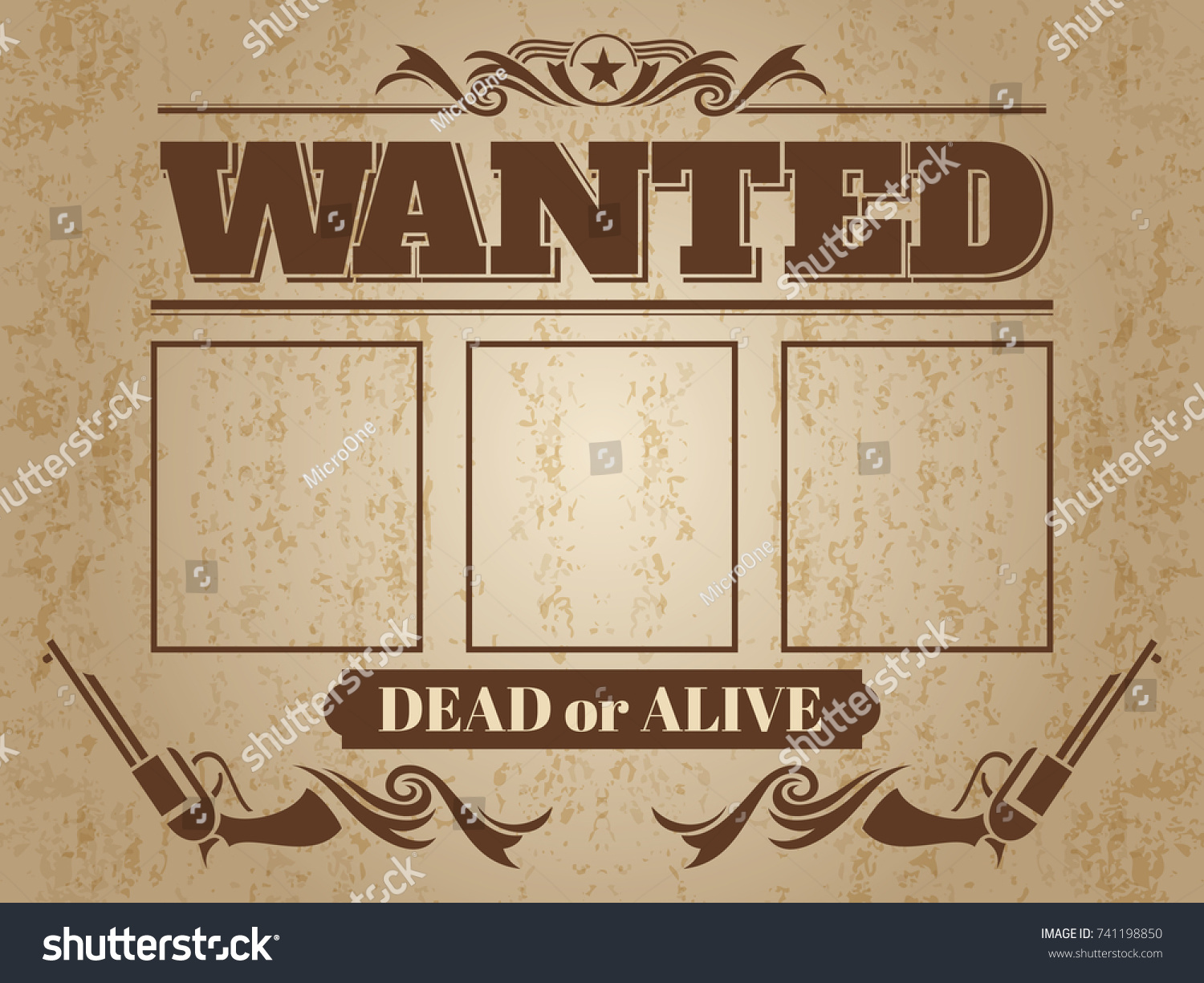 vintage wanted western poster blank space stock vector (royalty free