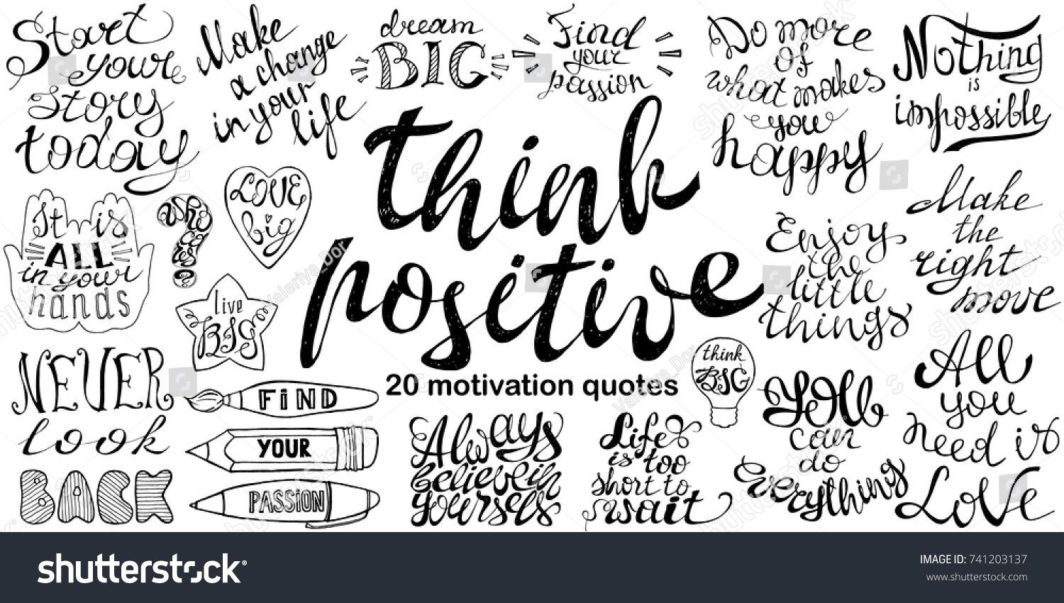 Inspirational Phrases Motivational Quotes Set Hand Drawn Inspirational Stock Vector