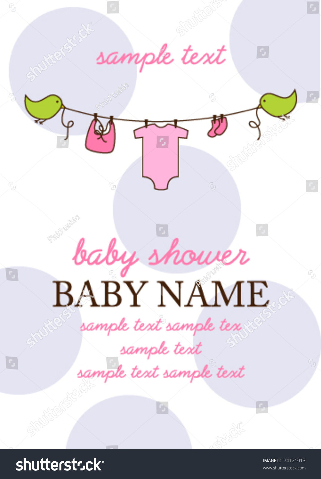 Baby Shower Invitation Template Flying Birds Stock Vector 74121013 ...