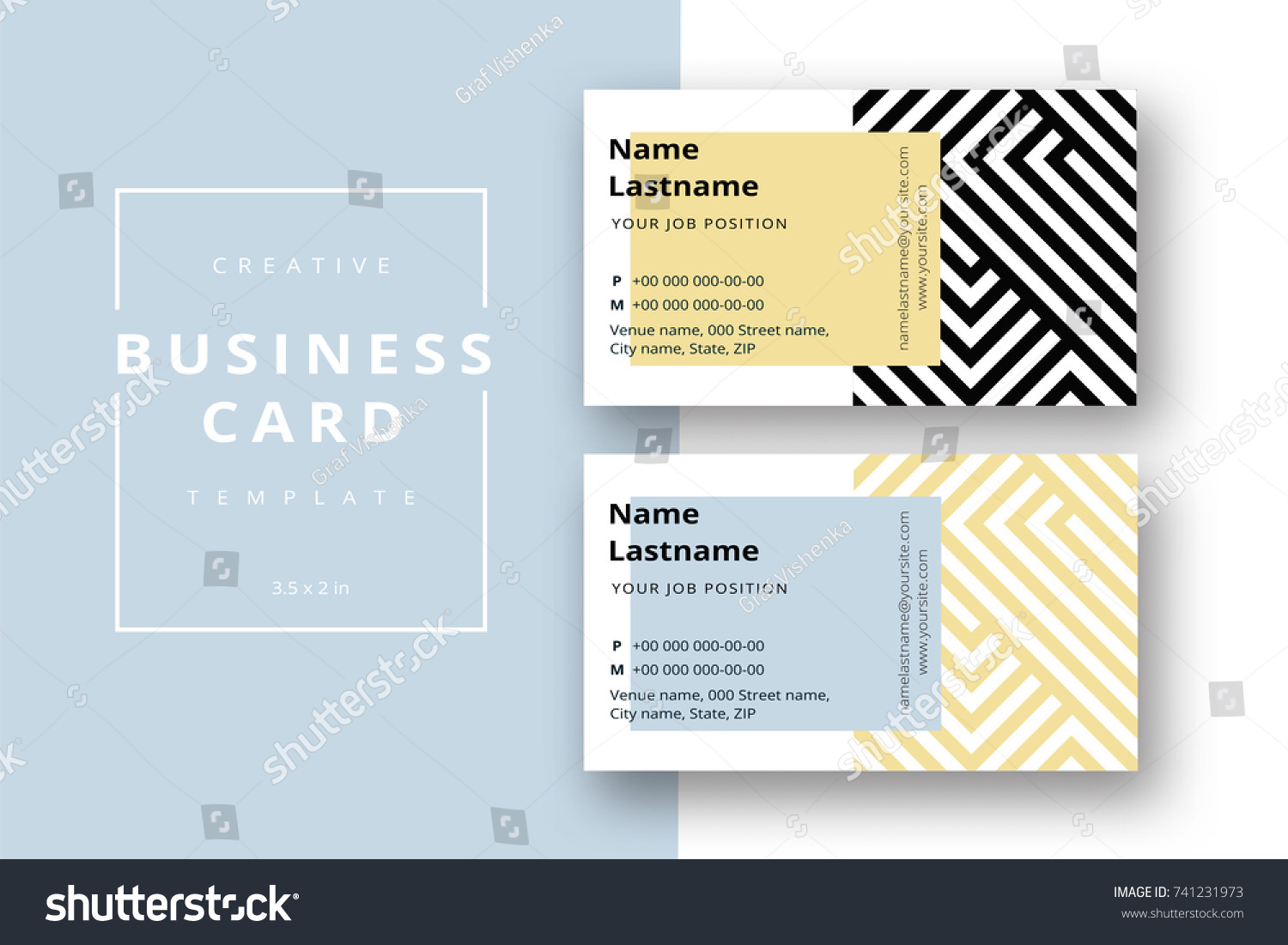 Trendy Minimal Abstract Business Card Template Stock Vector ...