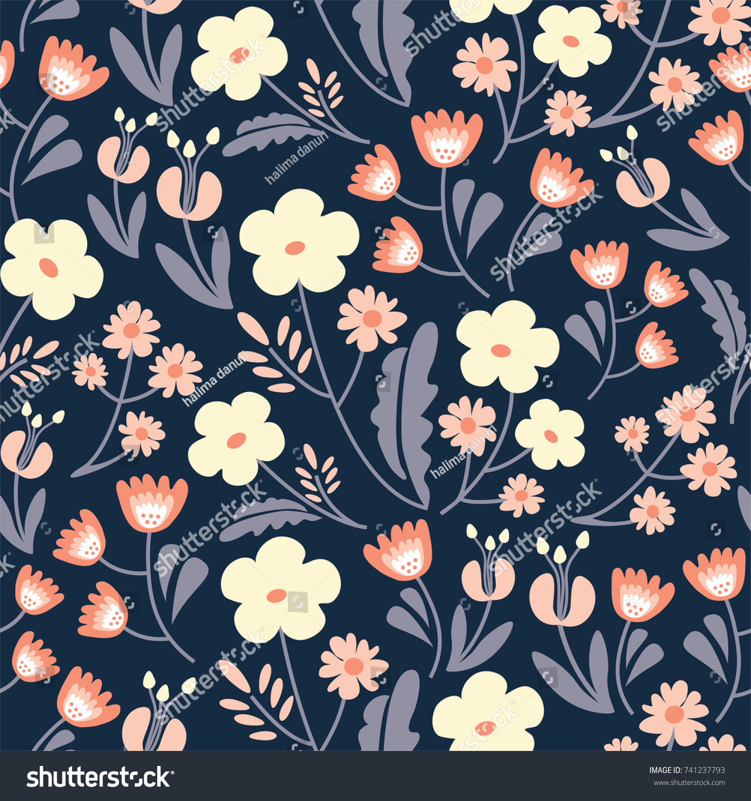 Floral Pattern On Dark Navy Background Stock Vector Royalty Free