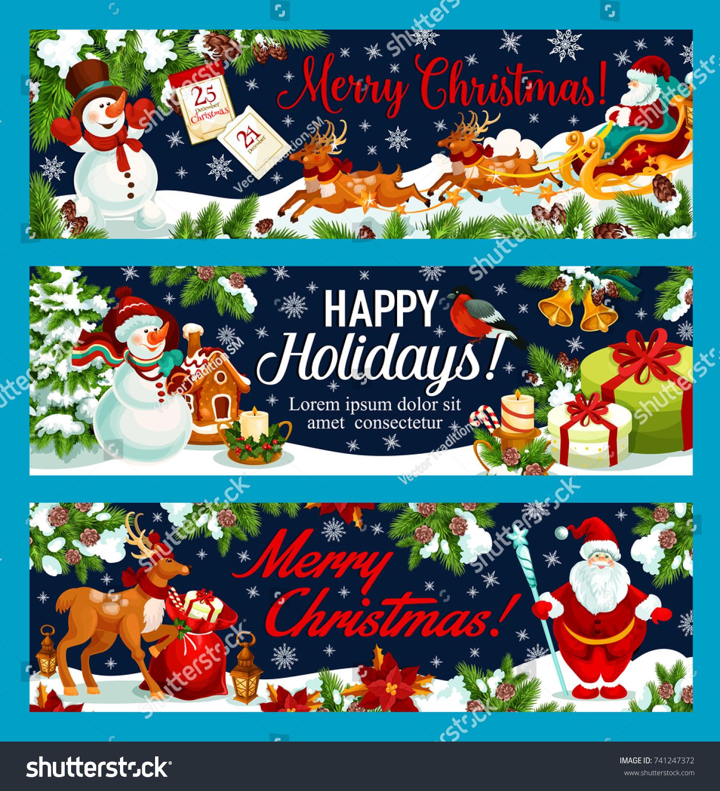 Merry christmas happy holidays greeting banners stock vector merry christmas and happy holidays greeting banners for new year winter holiday wish vector santa kristyandbryce Gallery