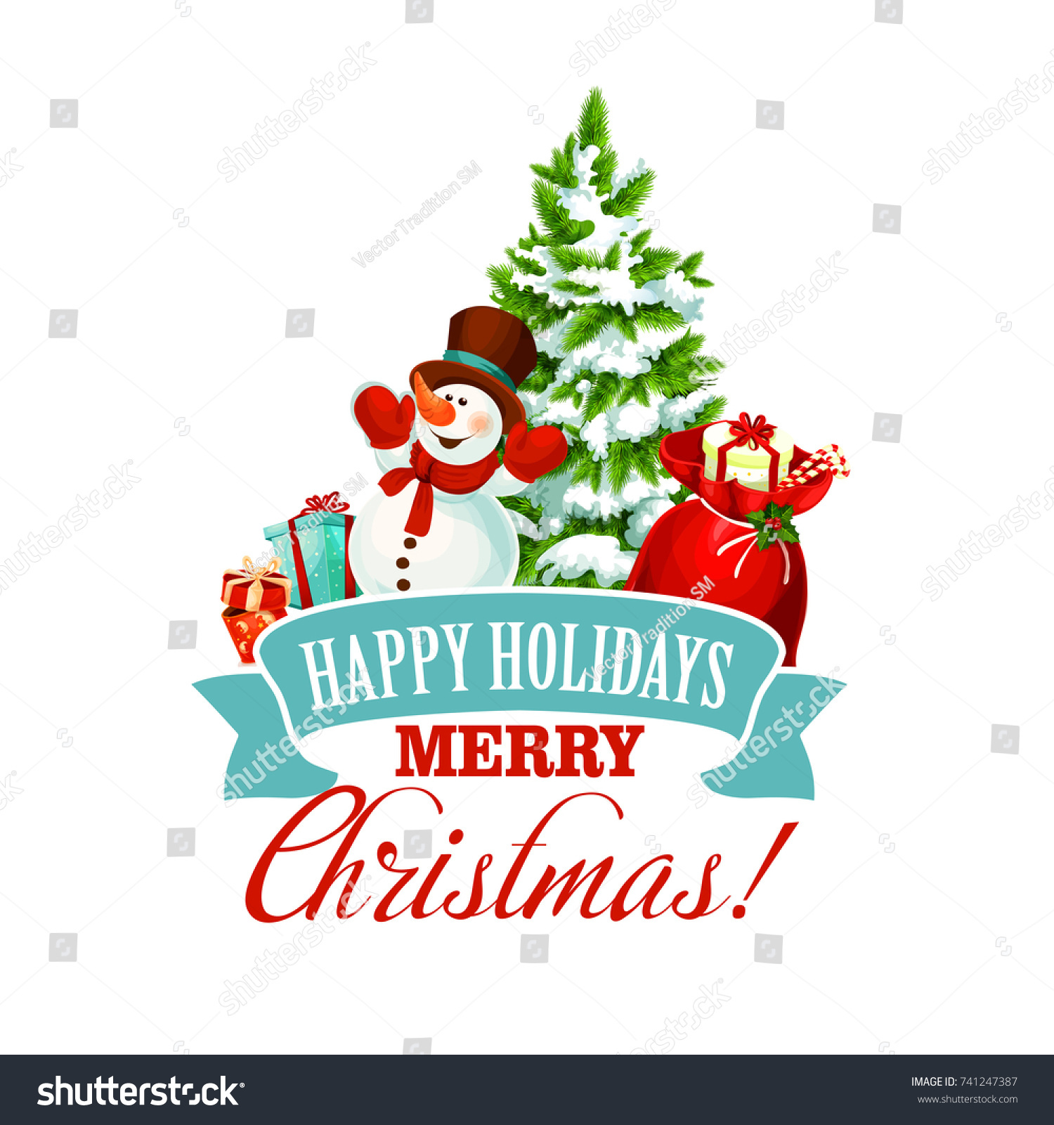 Merry Christmas Icon Happy Holiday Greeting Stock Vector Royalty