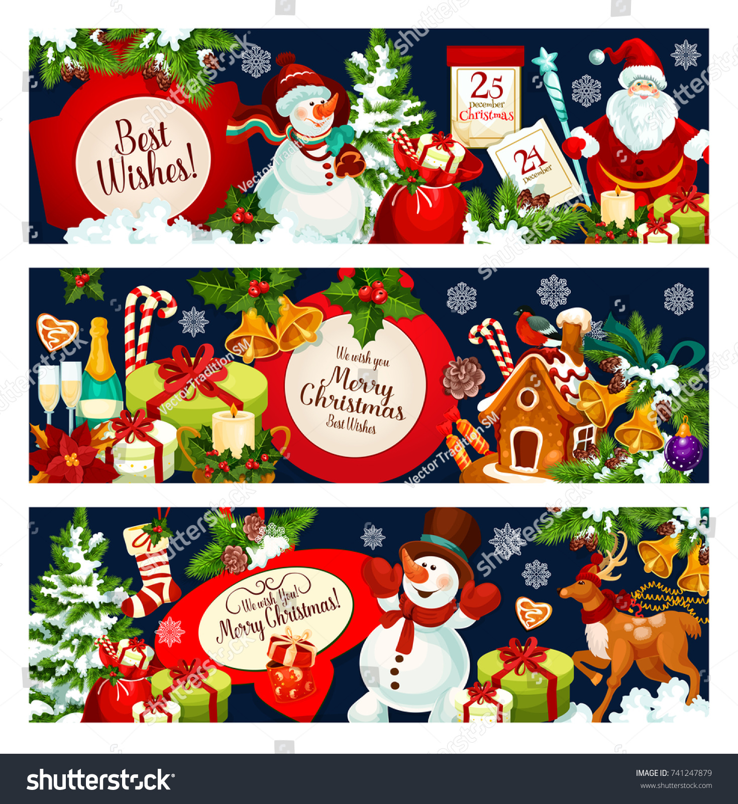 Merry Christmas Greetings Best Wishes Banners Stock Vector Royalty