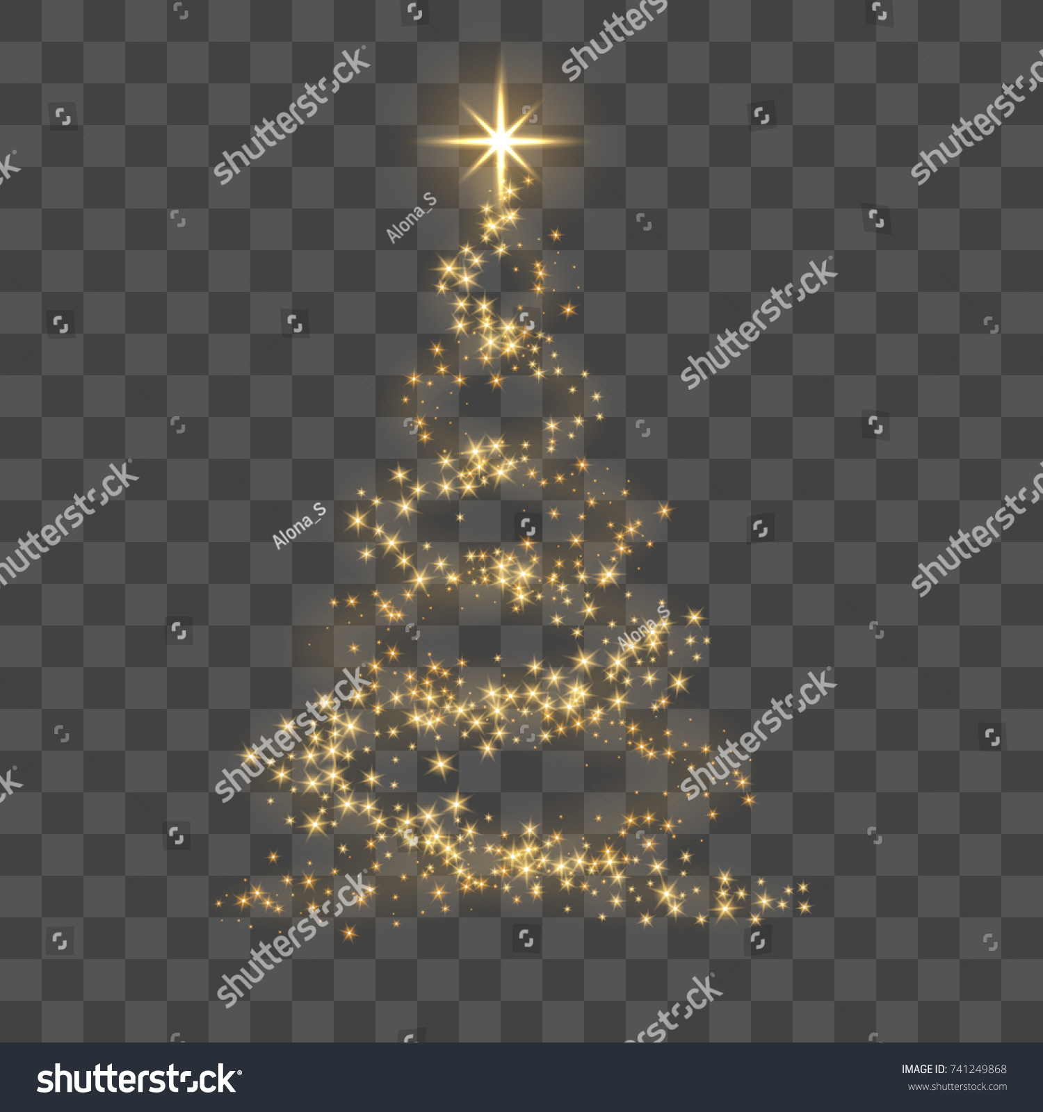 Christmas tree on transparent background. Gold Christmas tree as symbol of Happy New Year, Merry Christmas holiday celebration. Golden light decoration. Bright shiny design Vector illustration #741249868