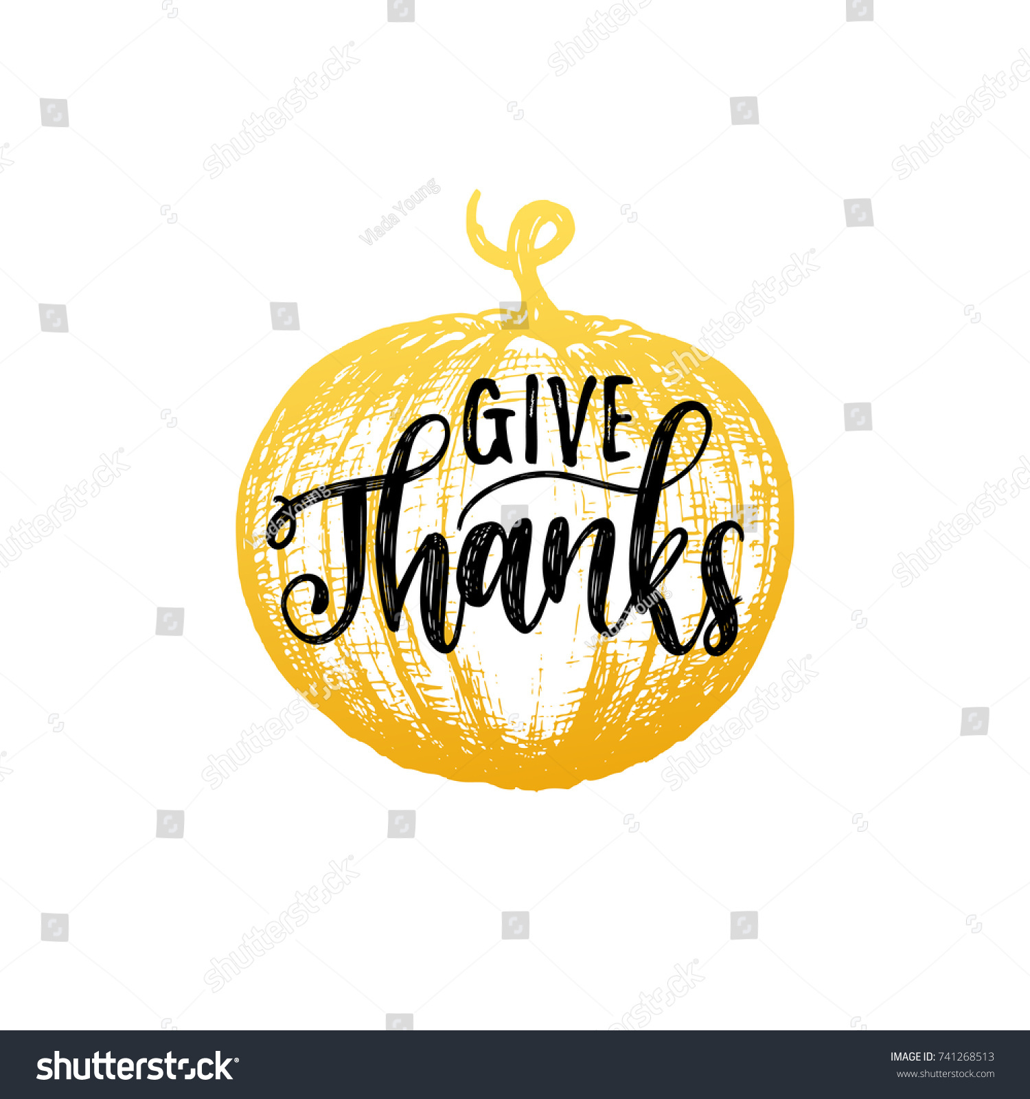 Give Thanks Vector Lettering On White Stock Vector 741268513