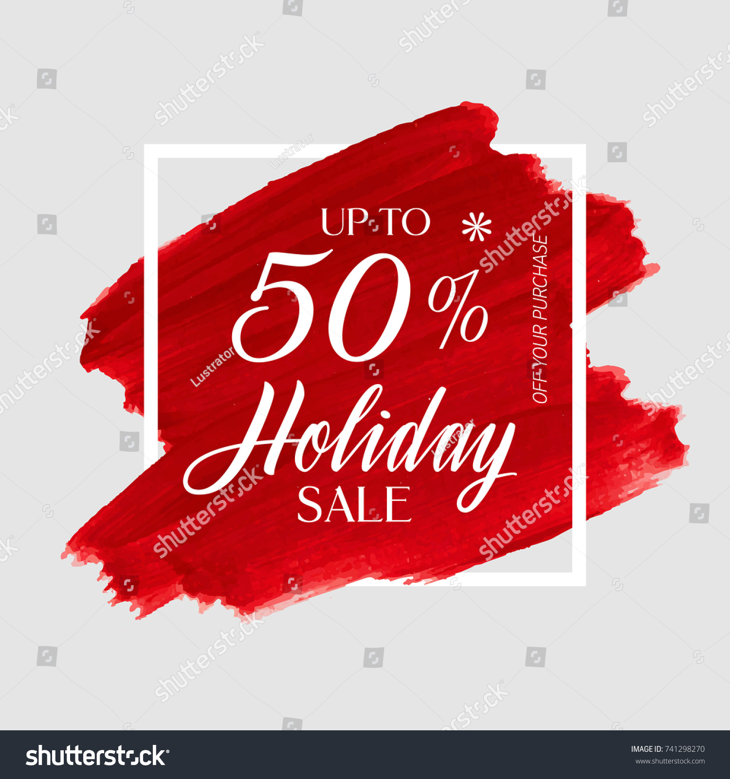 Holiday Sale Up To 50 Sign Over Art Brush Paint Abstract Texture Background Acrylic Stroke