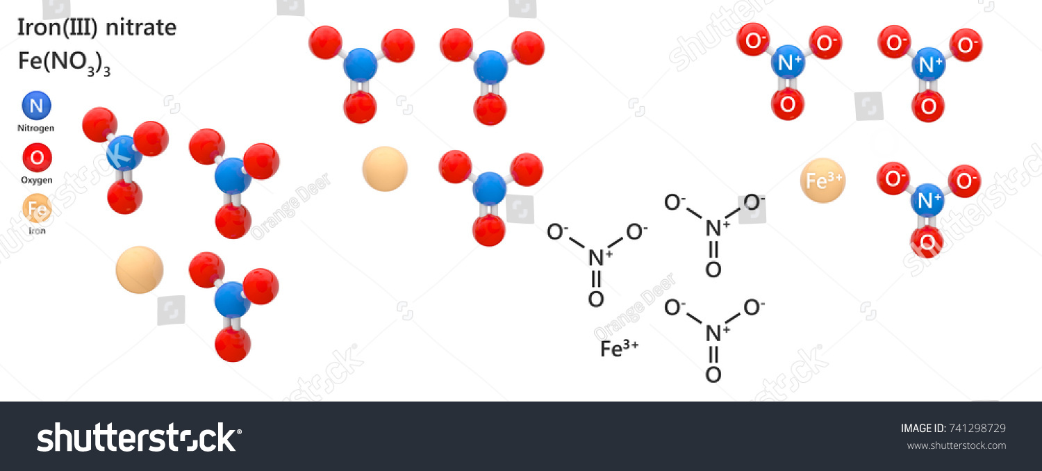 Iron Iii Nitrate Ferric Nitrate Chemical Compound Stock Illustration