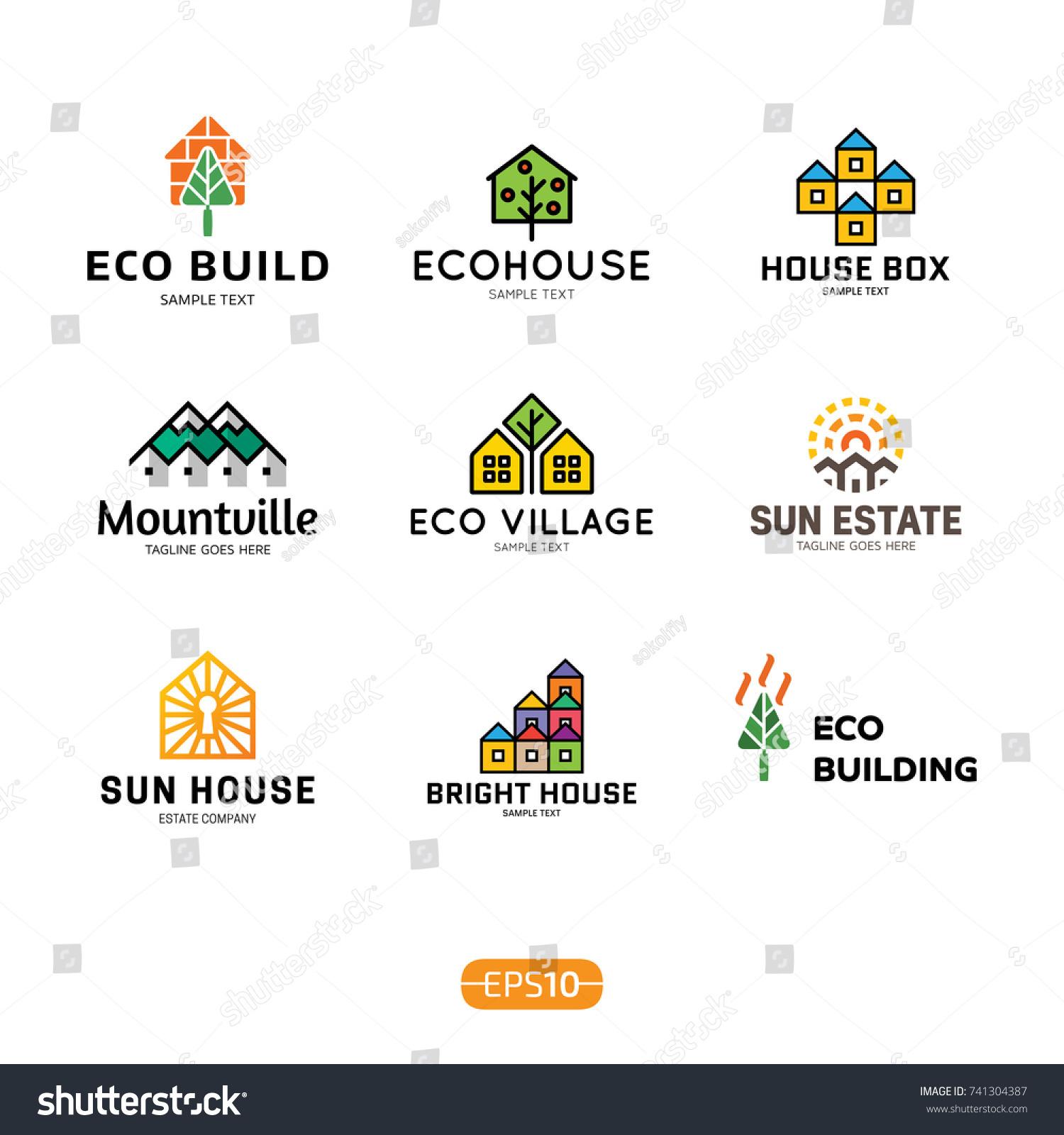 House Logo Design Template Set Real Stock Vector 741304387 ...