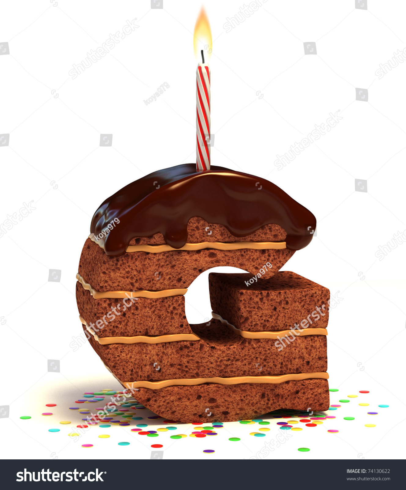 Letter G Shaped Chocolate Birthday Cake Stock Illustration