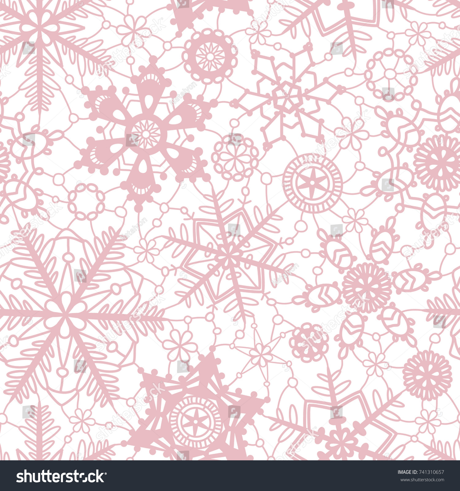 Pink crochet snowflakes on white seamless pattern, vector | EZ Canvas